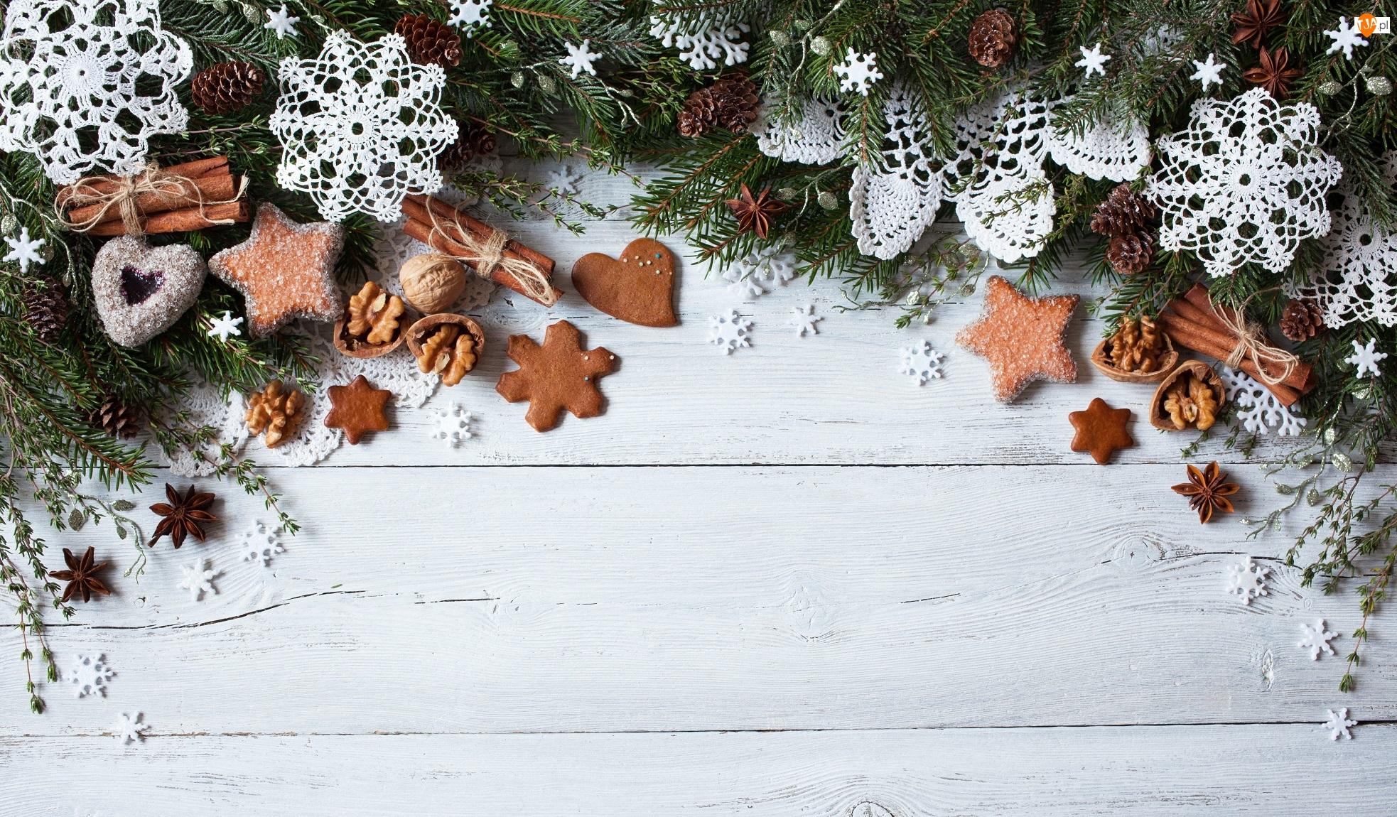Świerka, Handmade, Laski, Serwetki, Anyż, Kompozycja, Szydełko, Pierniczki, Cynamonu, Rękodzieło, Boże Narodzenie, Śnieżynki, Ciasteczka, Gałązki, Orzechy włoskie