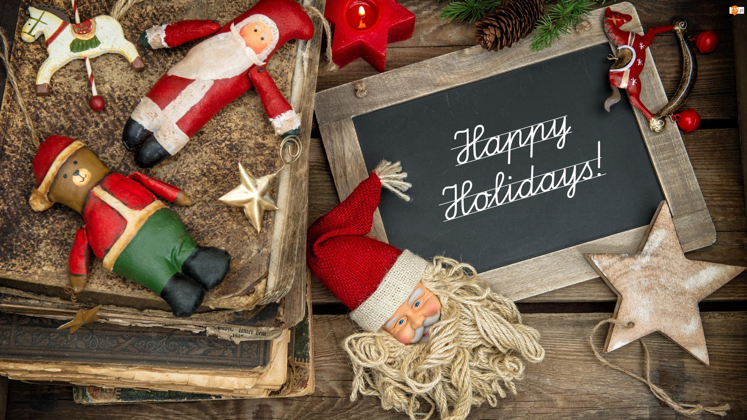 Koniki, Gwiazdka, Świeca, Vintage, Świąteczna, Zabawki, Tablica, Deski, Napis, Miś, Kompozycja, Książki, Happy Holidays, Mikołaj