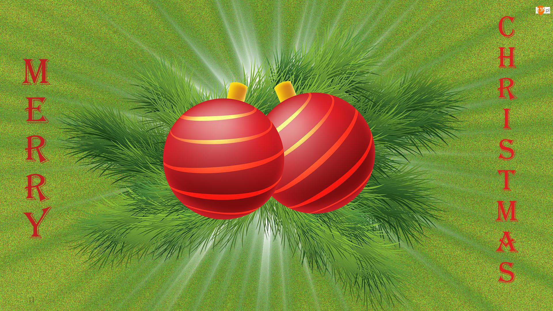 Czerwone, Napis, Świąteczne, Merry Christmas, Boże Narodzenie, Bombki