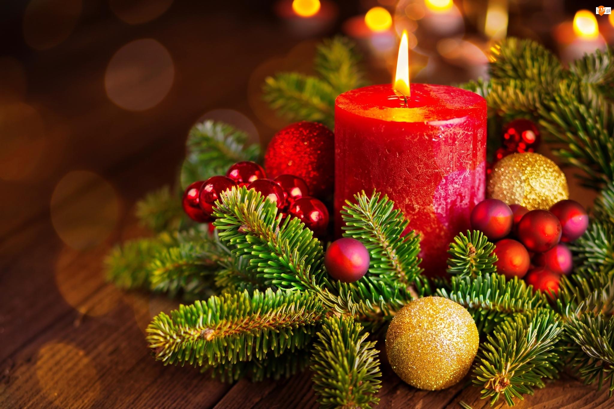 Dekoracja, Gałązki, Świeca, Boże Narodzenie, Stroik, Bombki, Świerku