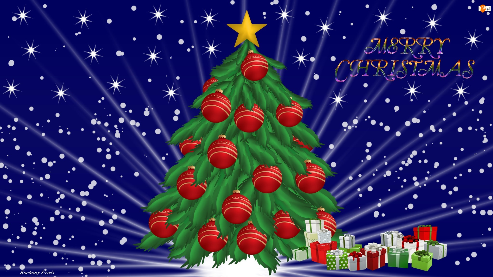Bombki, Napis, Boże Narodzenie, Merry Christmas, Choinka, Prezenty