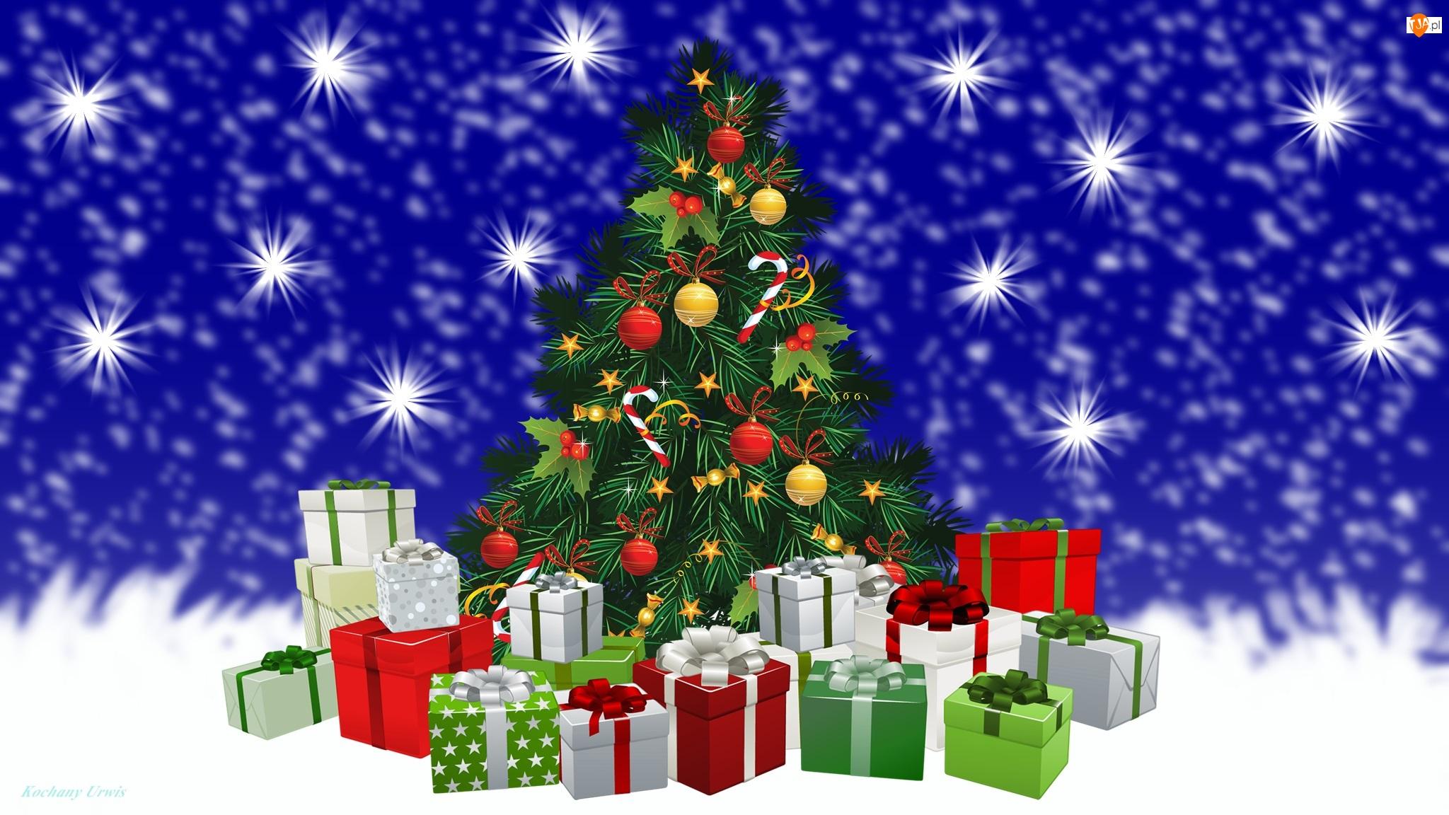 2D, Boże Narodzenie, Bombki, Choinka, Prezenty