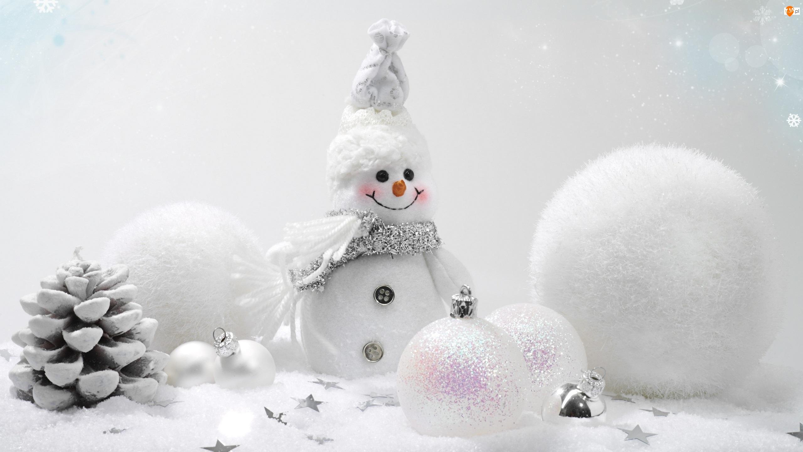 Bombki, Bałwanek, Świąteczna, Dekoracja, Gwiazdki, Boże Narodzenie, Szyszka
