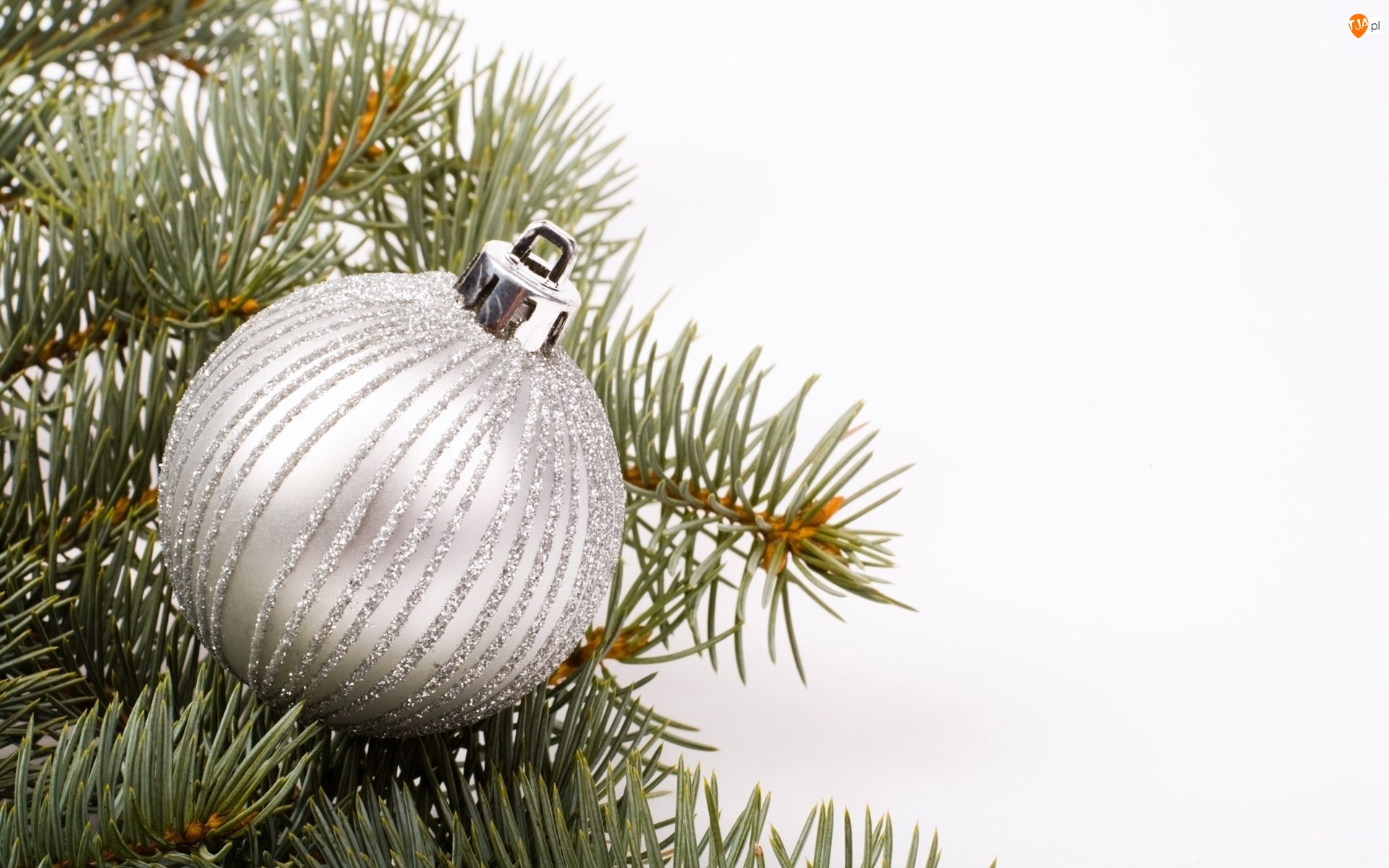 Srebrna, Bombka, Dekoracja, Białe, Boże Narodzenie, Tło, Świąteczna, Gałązki