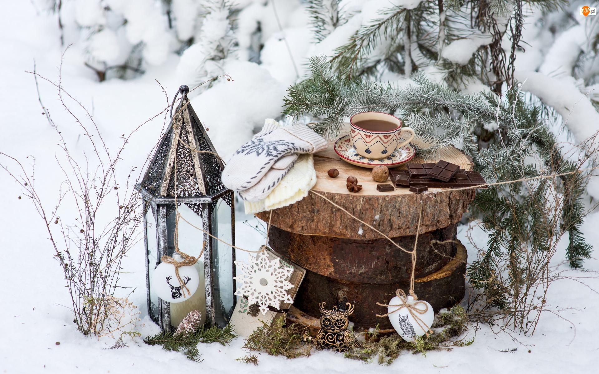Herbata, Krążki, Kompozycja, Rękawiczki, Rośliny, Iglak, Śnieg, Lampion, Filiżanka, Świąteczna, Zima, Pnia, Czekolada