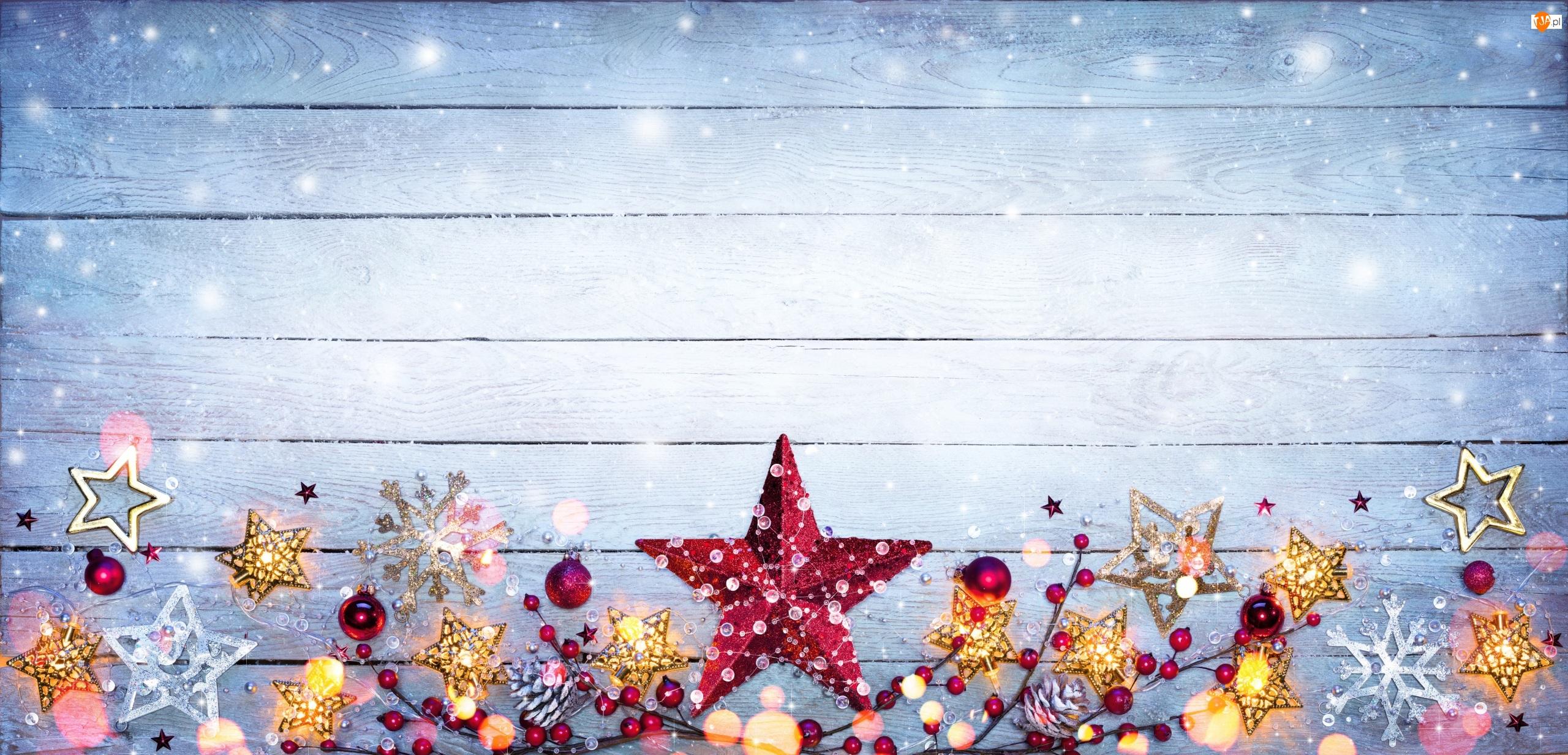 Gwiazdki, Kompozycja, Światełka, Boże Narodzenie, Bombki