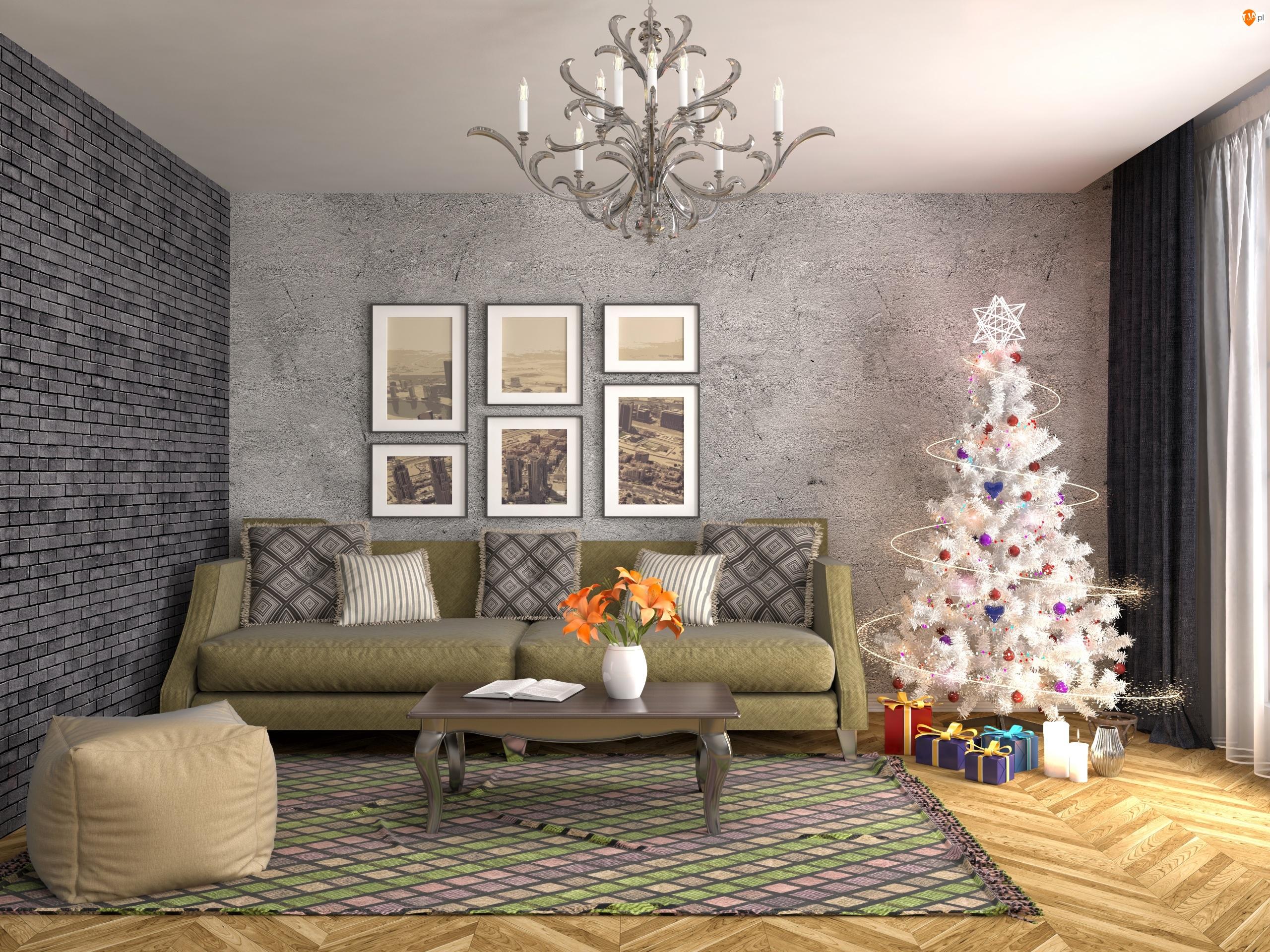 Pokój, Boże Narodzenie, Kanapa, Choinka