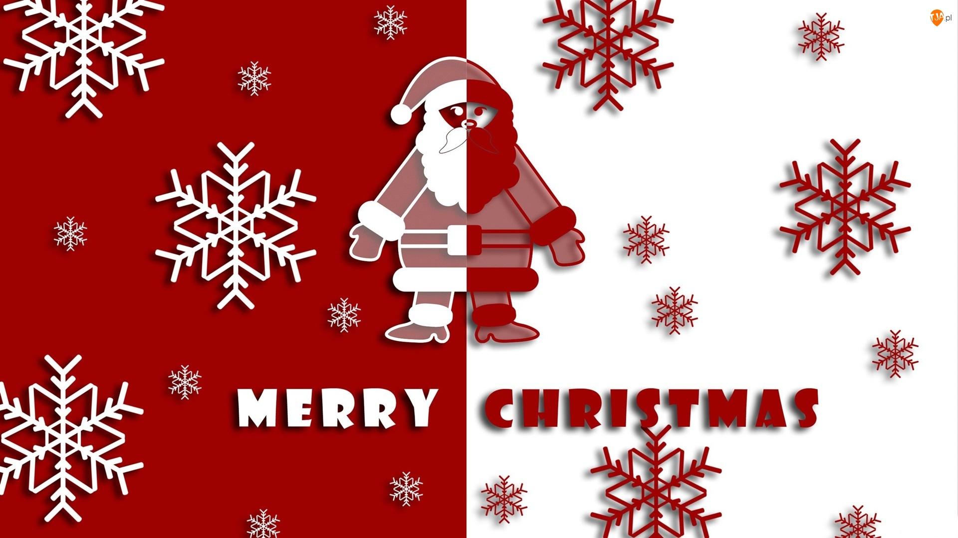 Mikołaj, Napis, Grafika, Biało-czerwona, Gwiazdki, Boże Narodzenie, Merry Christmas