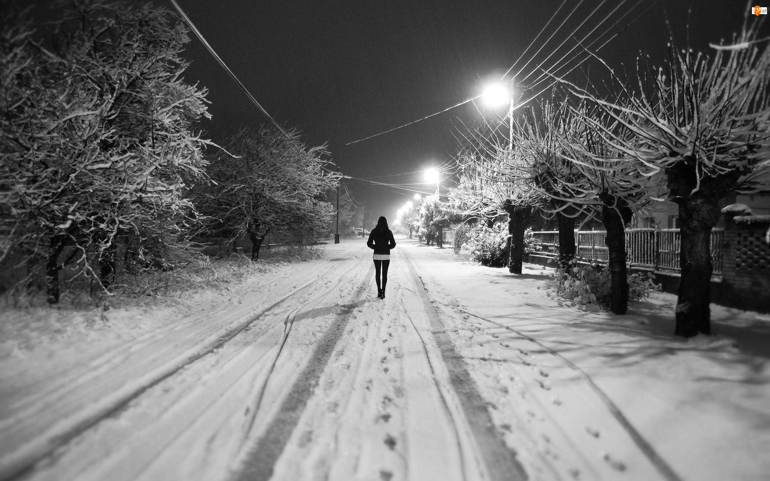 Noc, Spacer, Zima, Dziewczyna