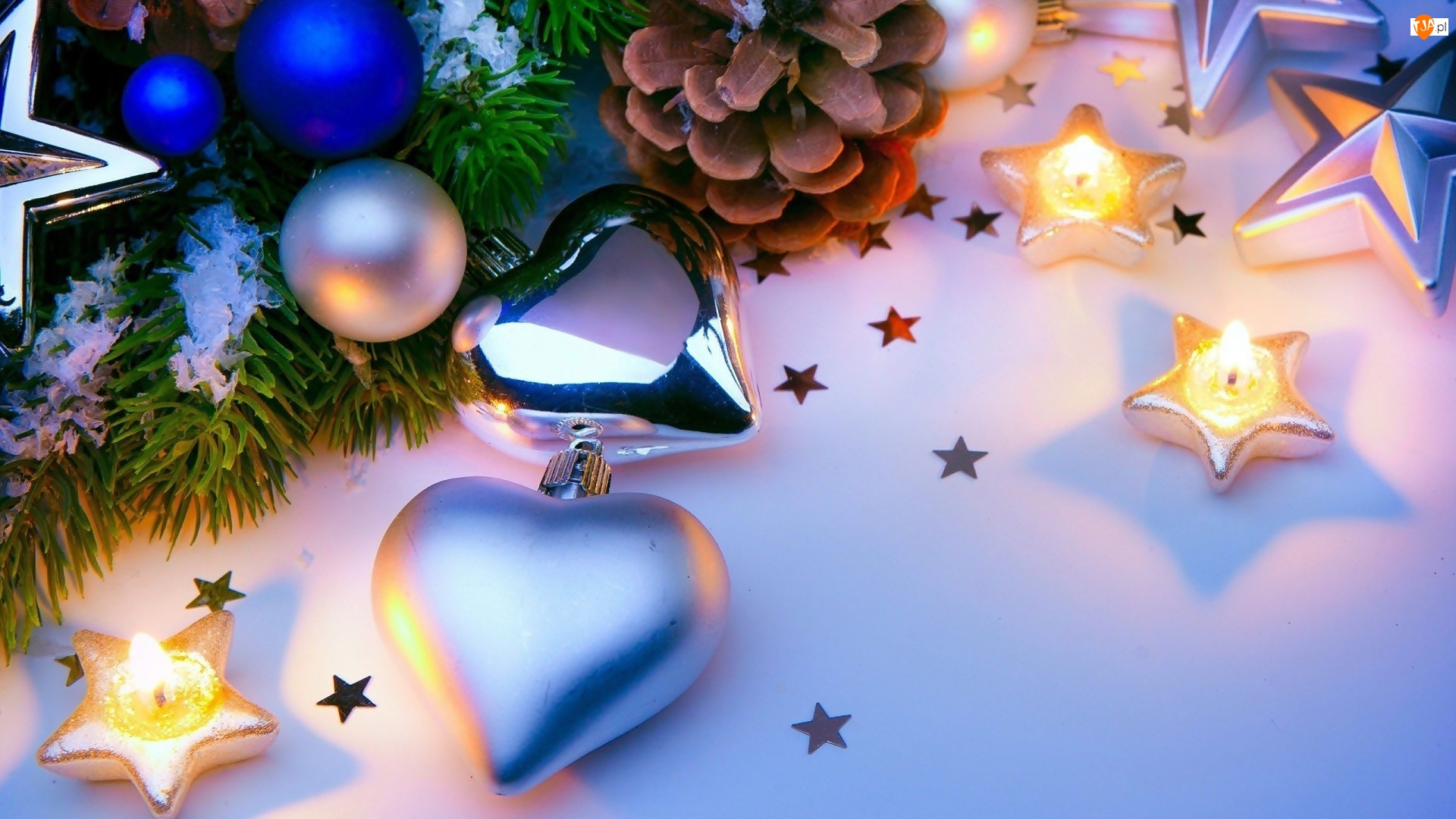 Szyszka, Bombki, Świąteczna, Kompozycja, Gwiazdki, Boże Narodzenie, Świeczki