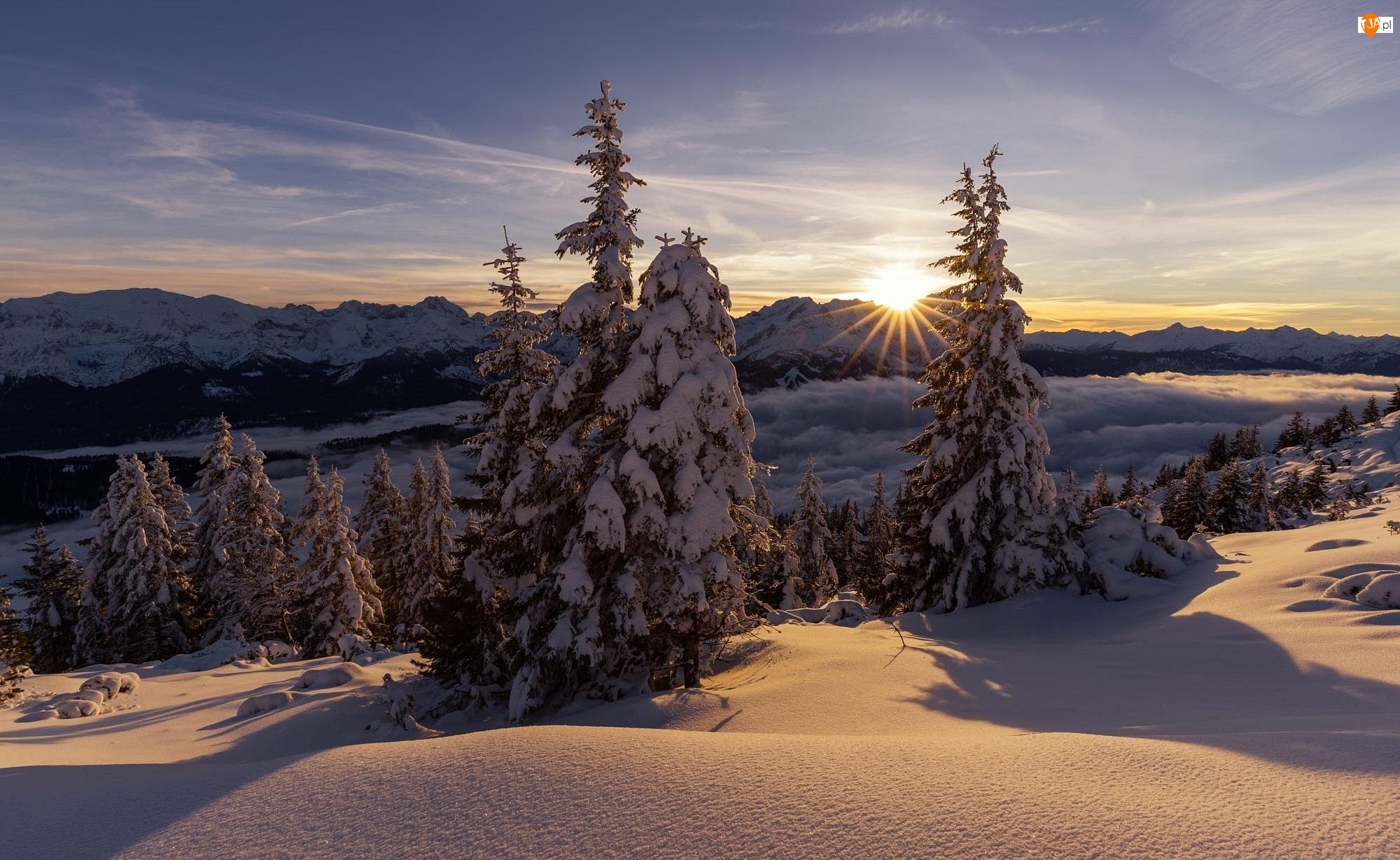 Zima, Zachód słońca, Alpy Wschodnie, Drzewa, Bawaria, Ośnieżone, Niemcy, Mgła, Góra Wank, Góry