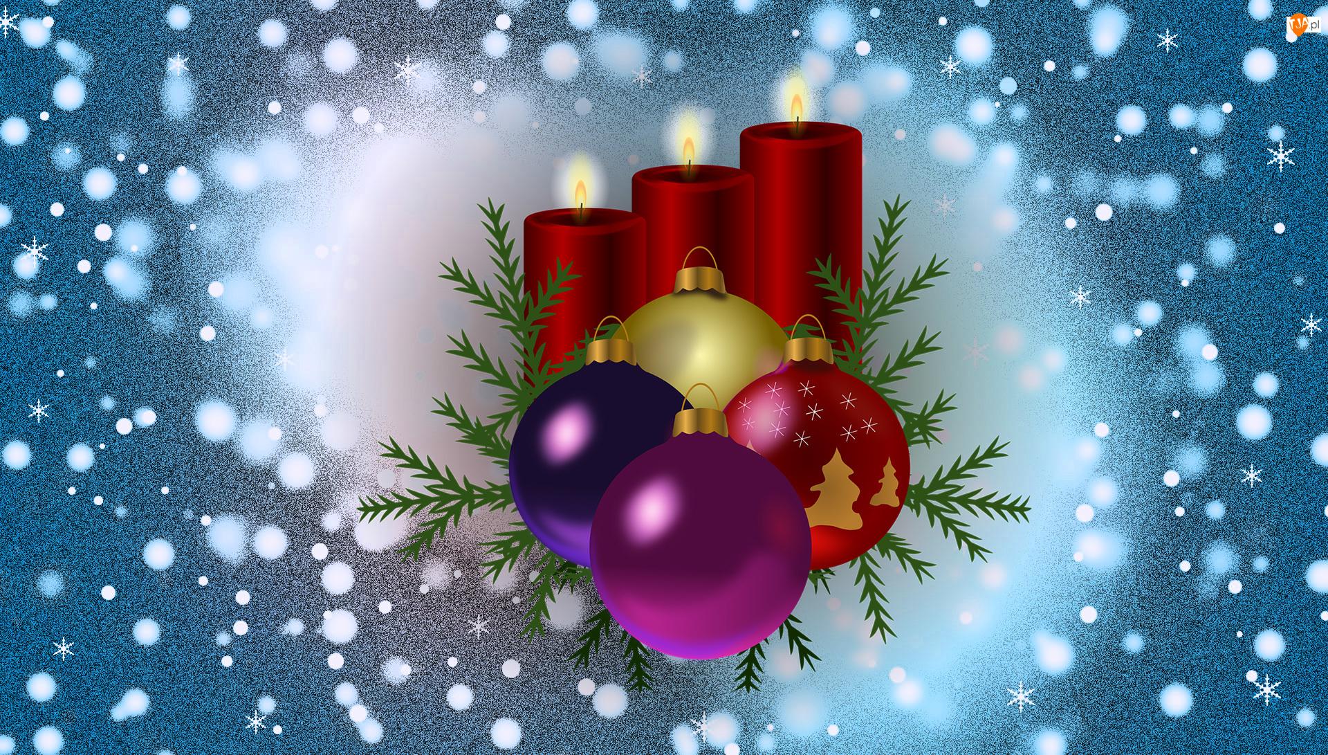 Trzy, Czerwone, Kompozycja, Bombki, Świąteczna, Grafika 2D, Boże Narodzenie, wieczki