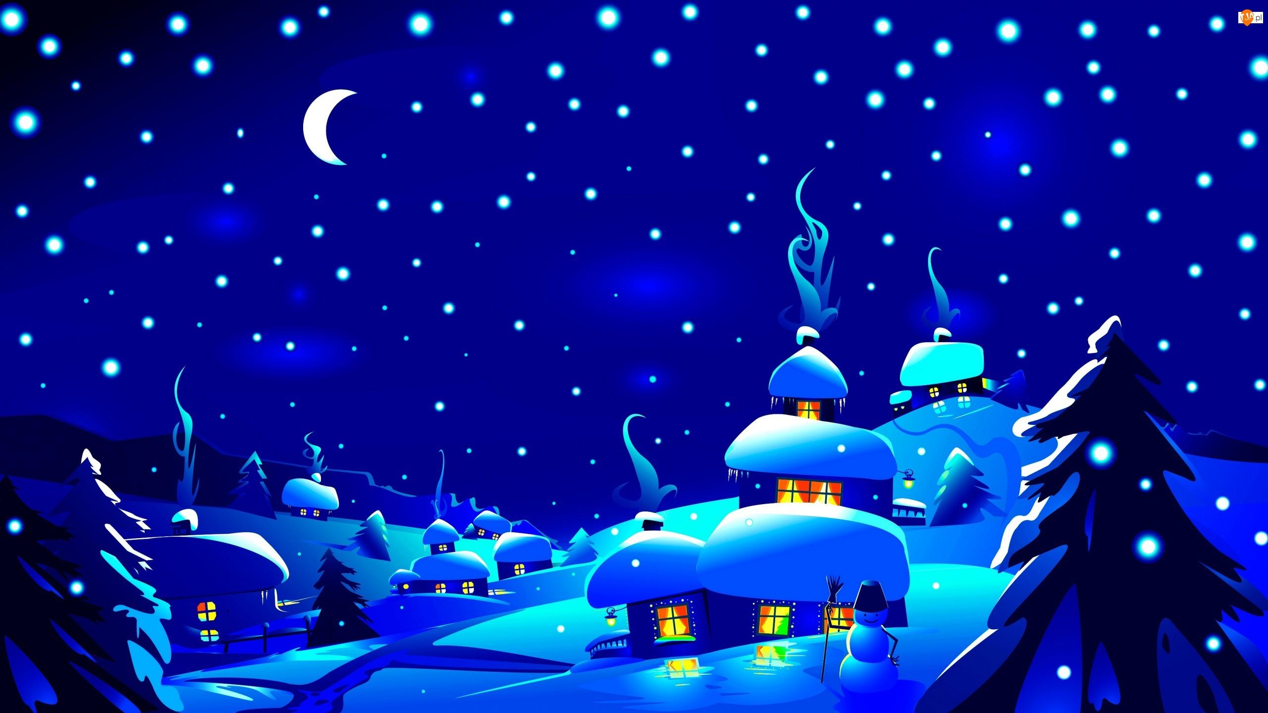 Śnieg, Noc, Wieś, Księżyc, Domy, Drzewa
