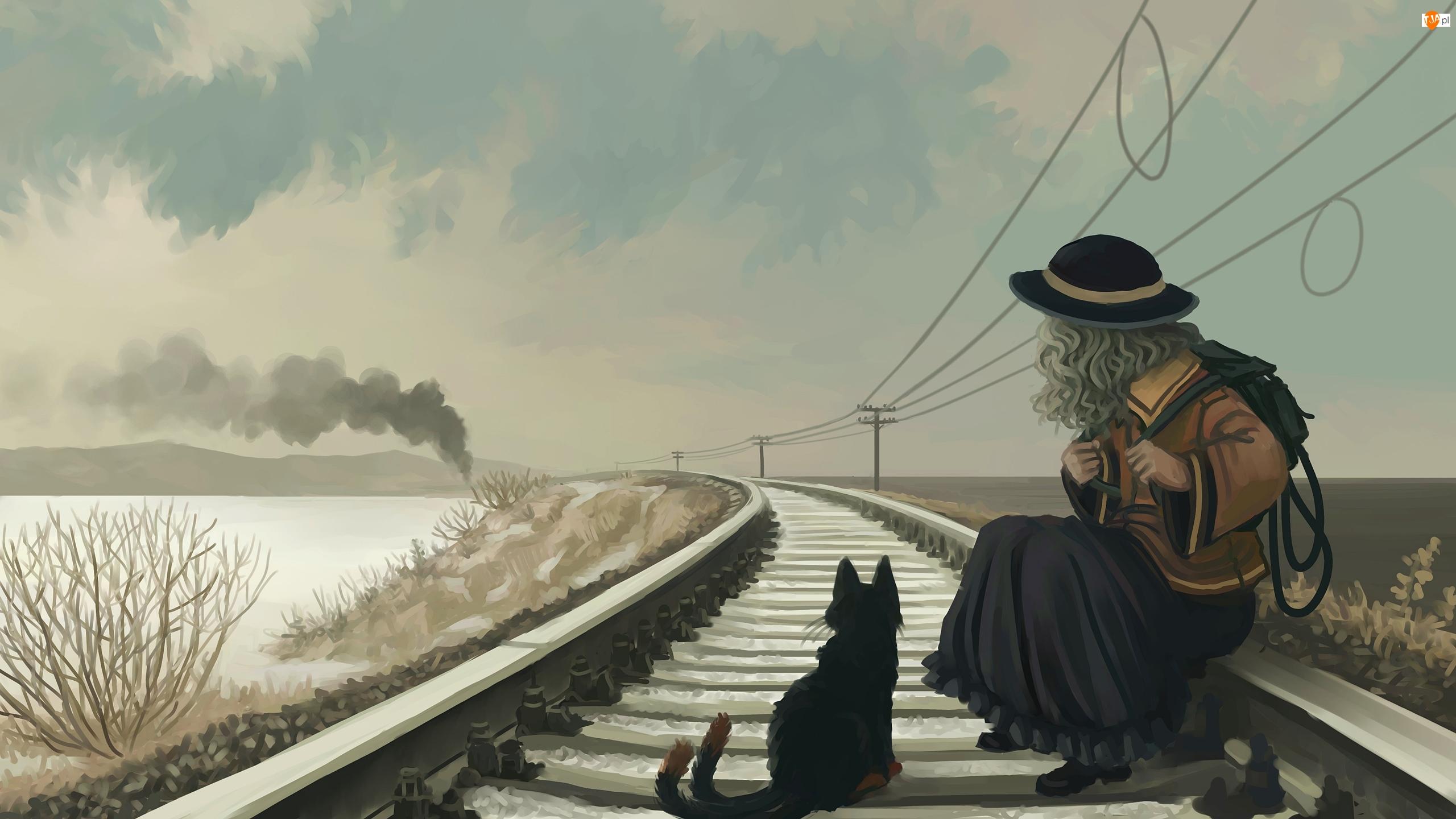 Rysunek, Tory, Kot, Dziewczynka, Pociąg