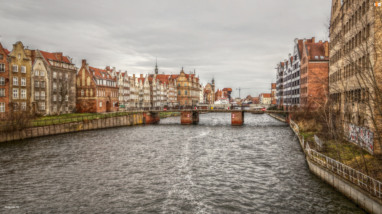 Gdańsk, HDR, Rzeka, Kamienice
