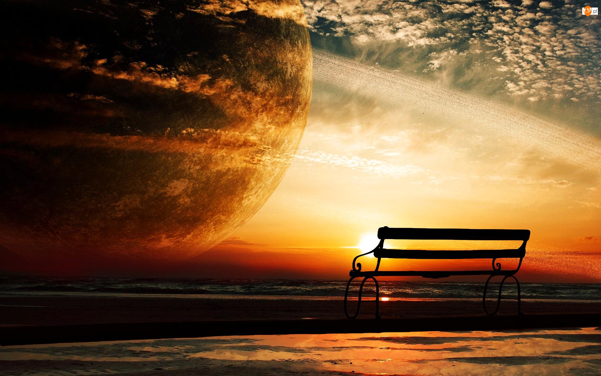 Morze, Planeta, Zachód słońca, Ławka, Fantasy