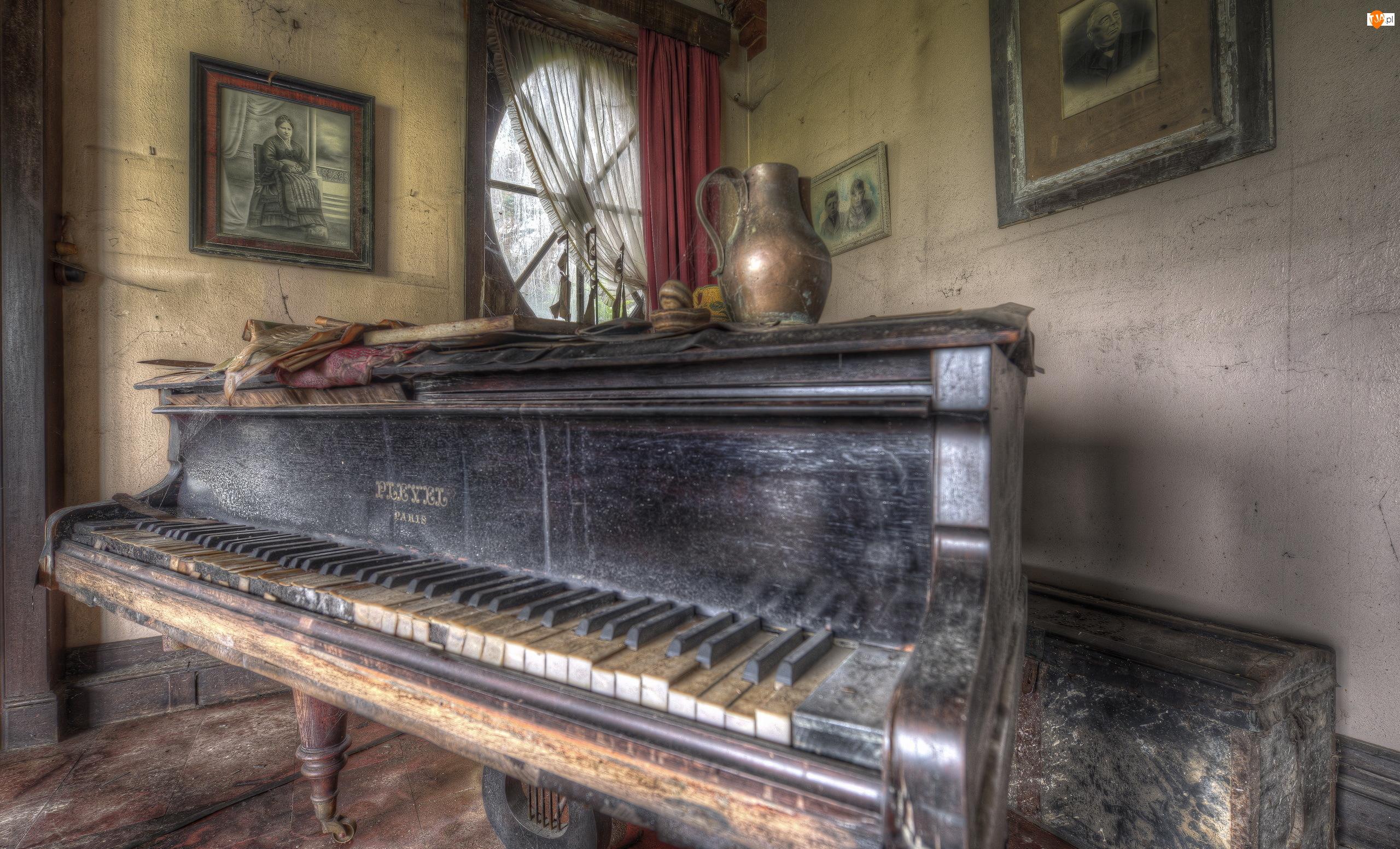 Pokój, Zaniedbany, Zdjęcia, HDR, Pianino, Dzban