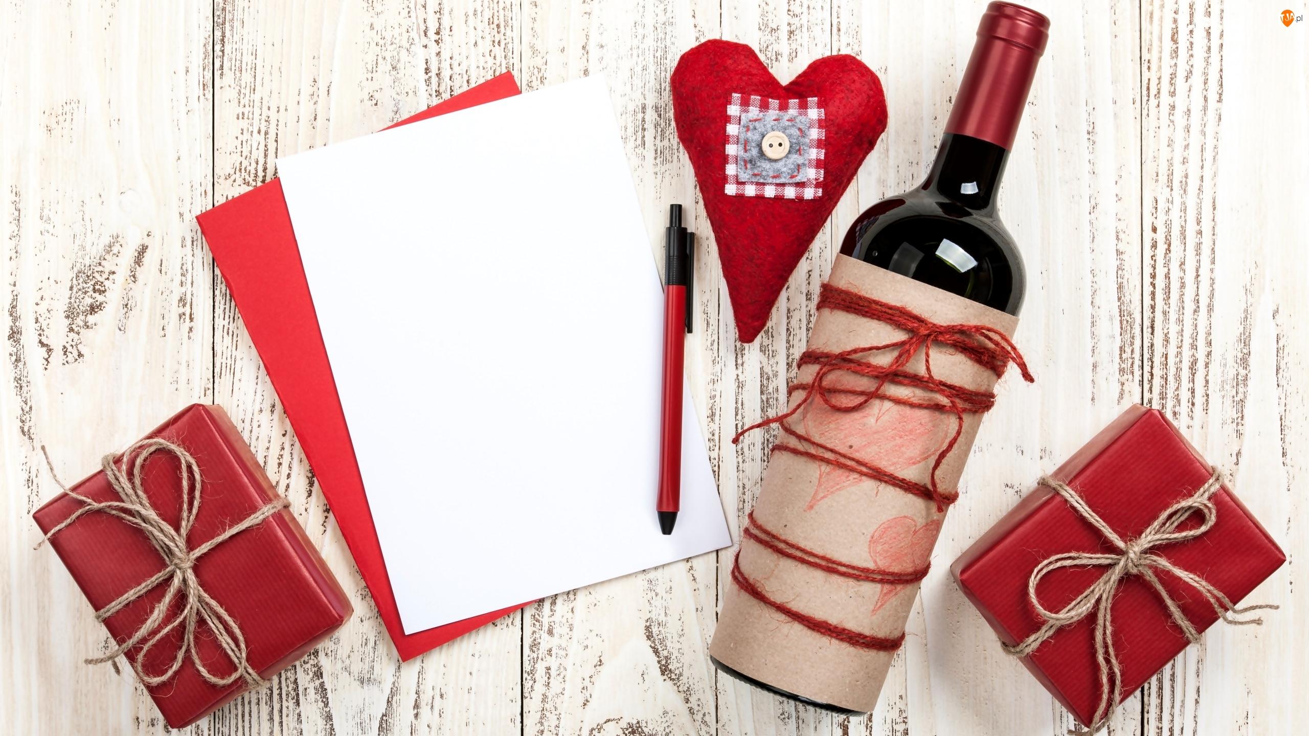Deski, Kartka, Wino, Serce, Butelka, Biała, Czerwona, Prezenty, Długopis