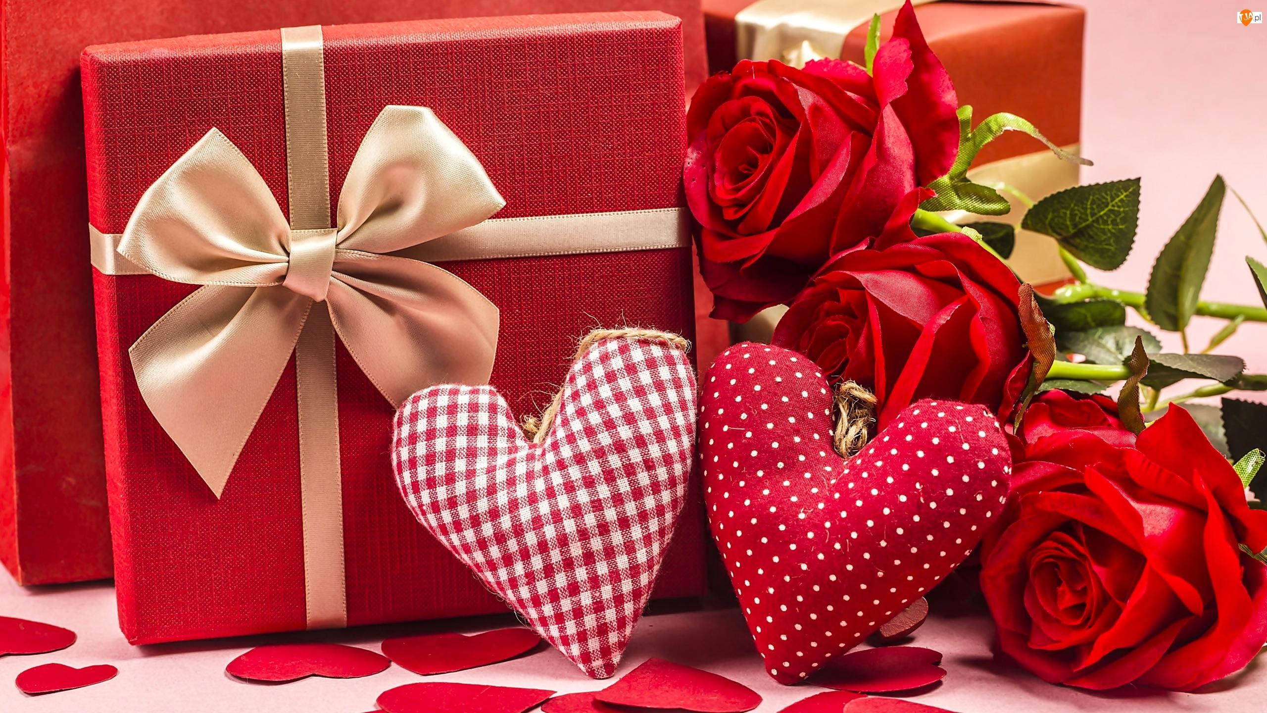 Wstążka, Róże, Walentynki, Prezent, Serca