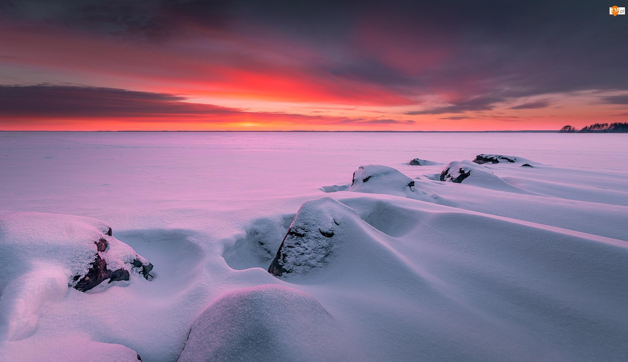 Zima, Finlandia, Jezioro, Śnieg, Północna Karelia, Zachód słońca, Skały, Joensuu