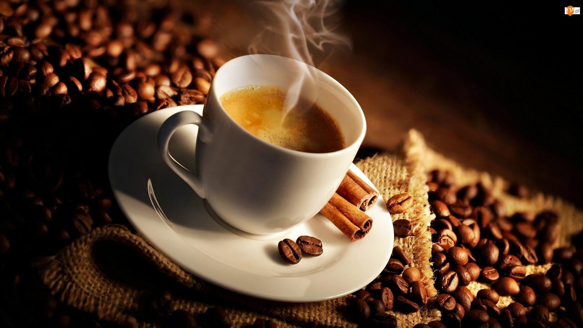 Kawa, Gorąca, Biała, Talerzyk, Ziarna, Filiżanka