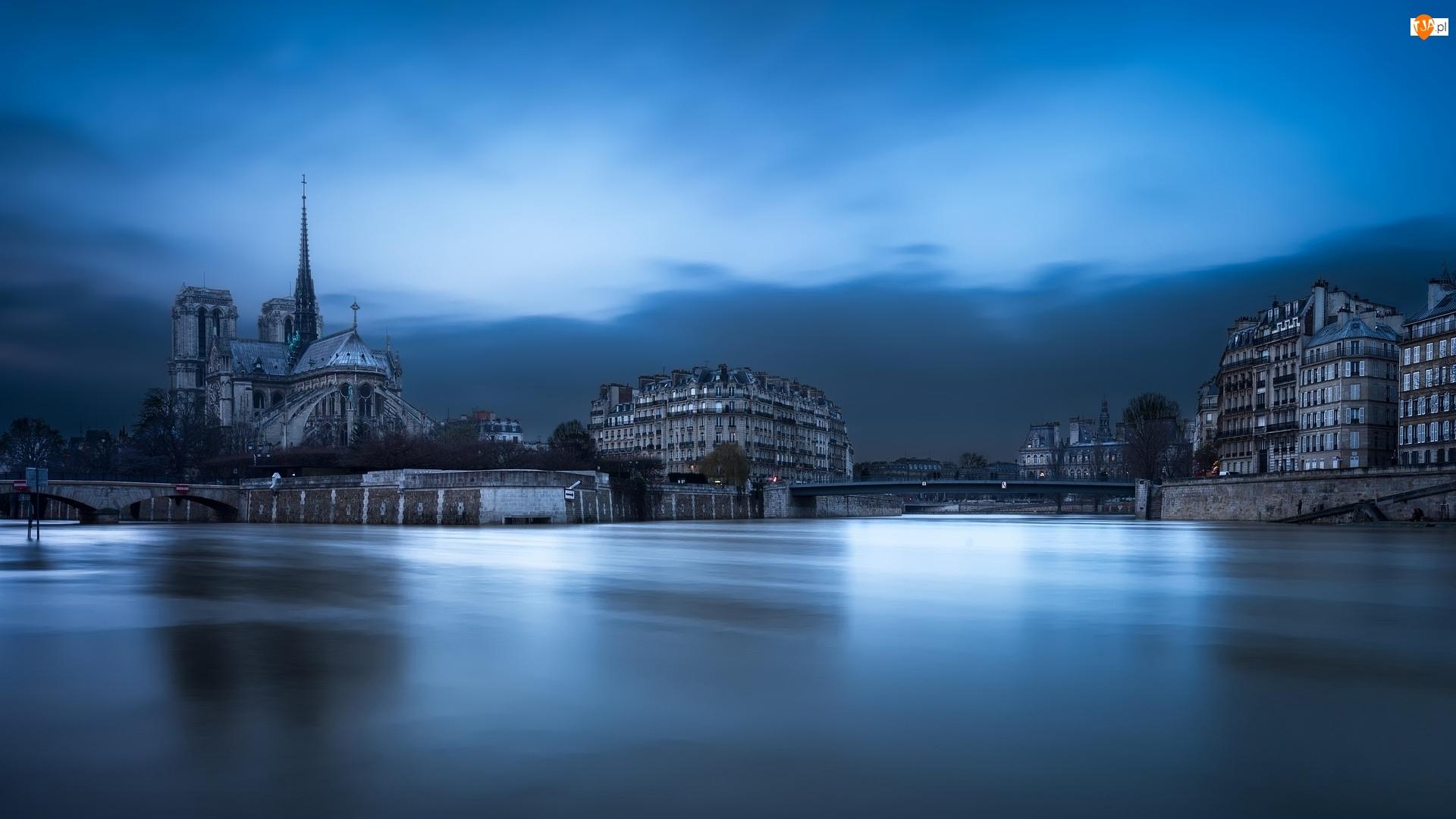 Rzeka Sekwana, Domy, Paryż, Francja, Katedra Notre-Dame