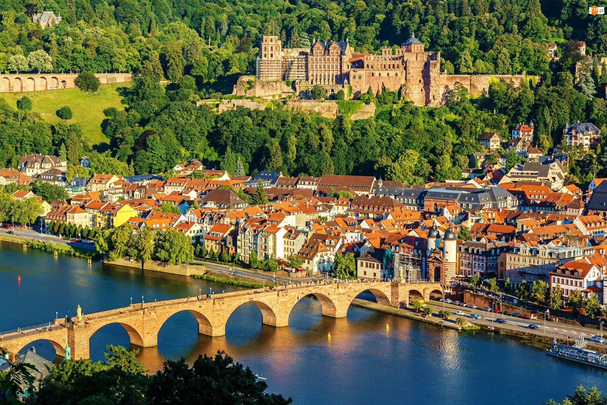 Heidelberger Schloss, Zamek w Heidelbergu, Niemcy, Rzeka Neckar, Heidelberg, Most