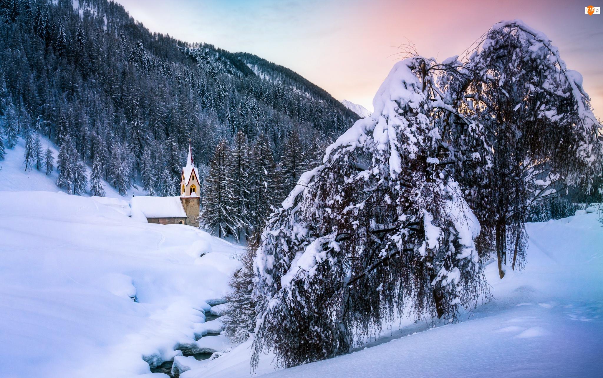 Góry, Las, Rzeka, Zima, Kościół, Drzewa, Ośnieżone