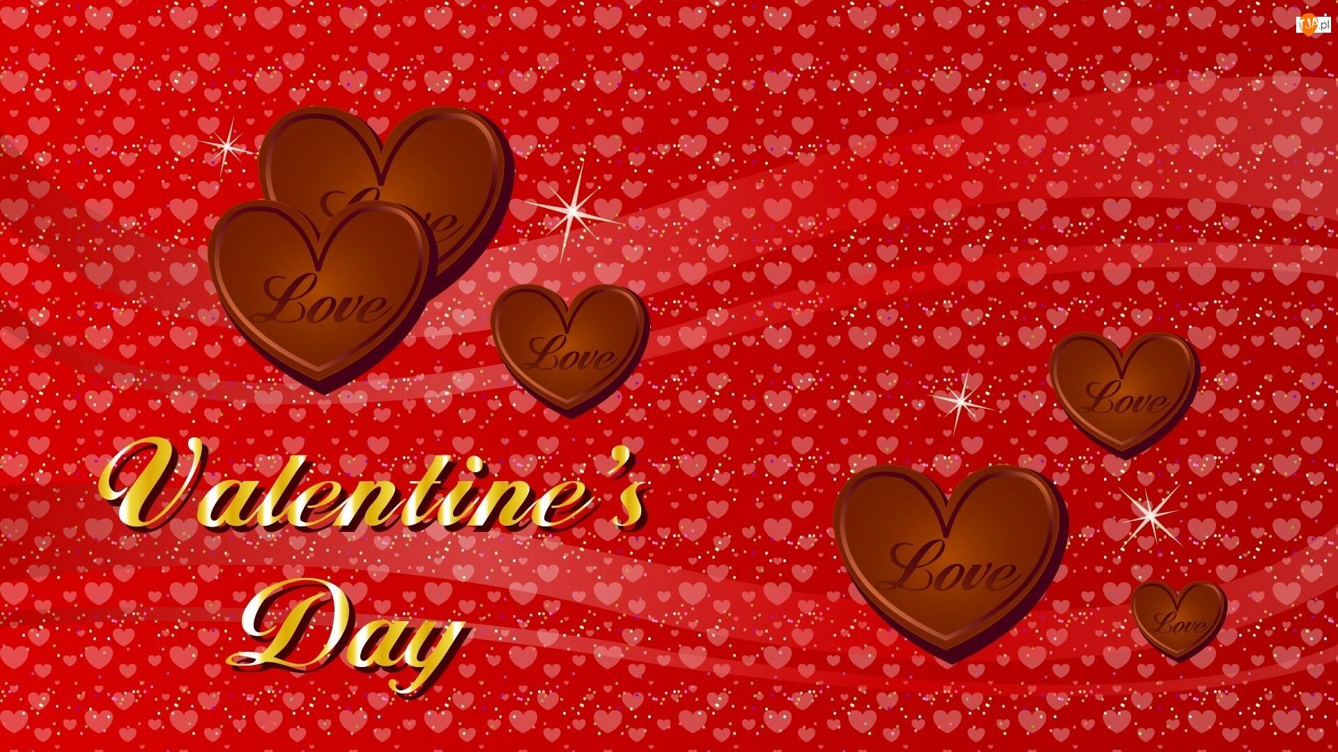 Serca, Valientines Day, Czekoladowe, Walentynki, Napis