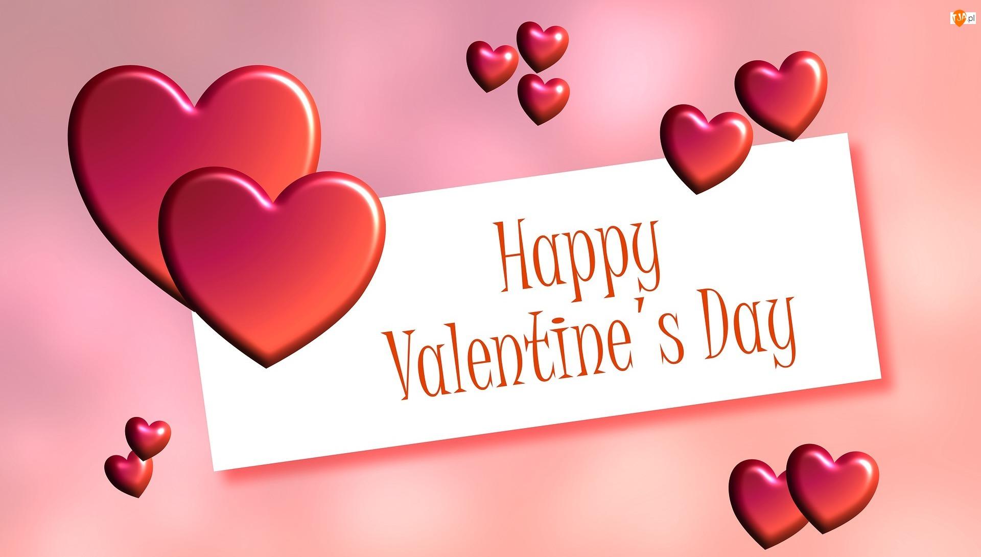 Życzenia, Walentynki, Serca, Kartka