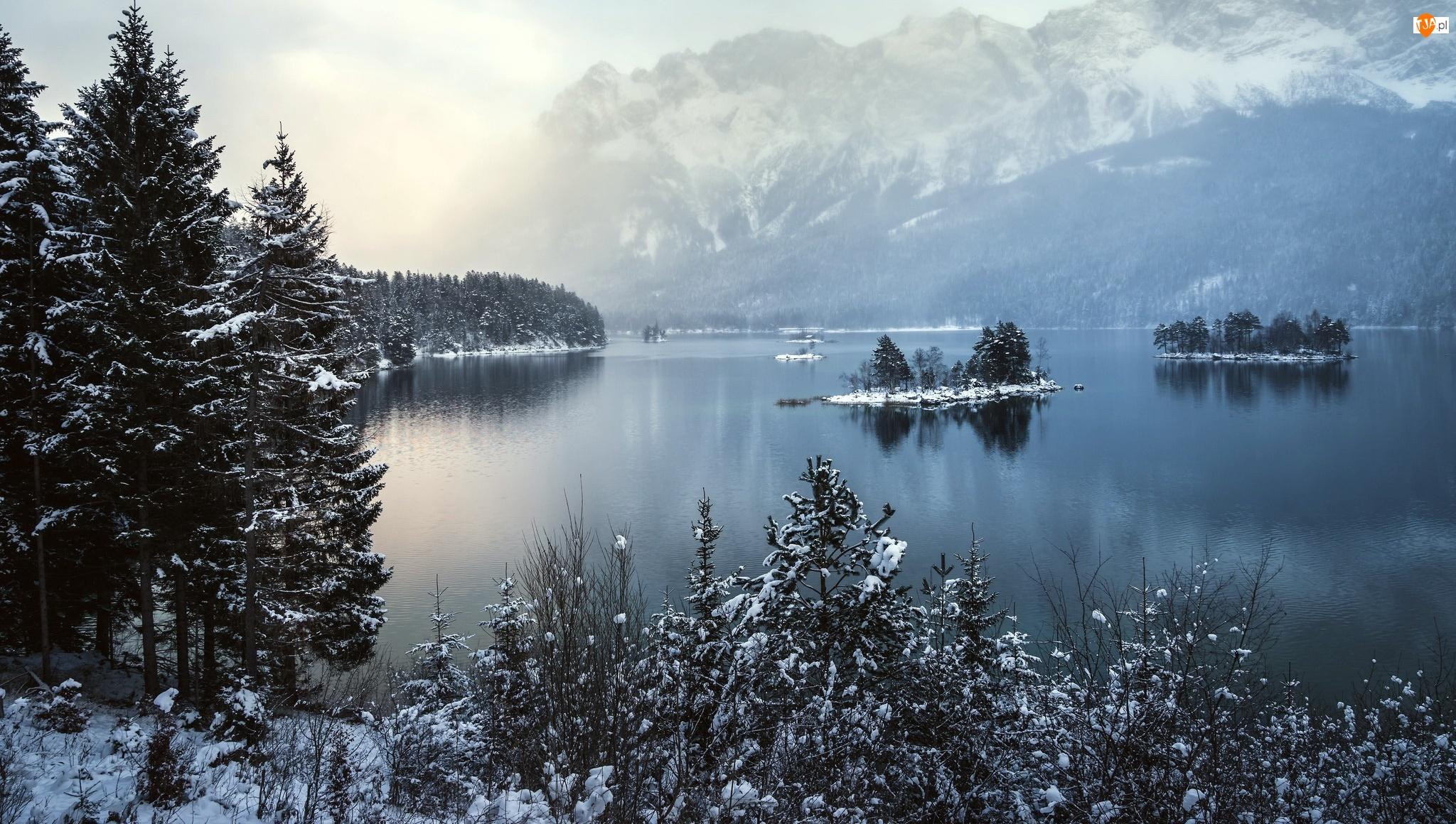 Bawaria, Zima, Góry, Niemcy, Drzewa, Jezioro, Alpy Bawarskie
