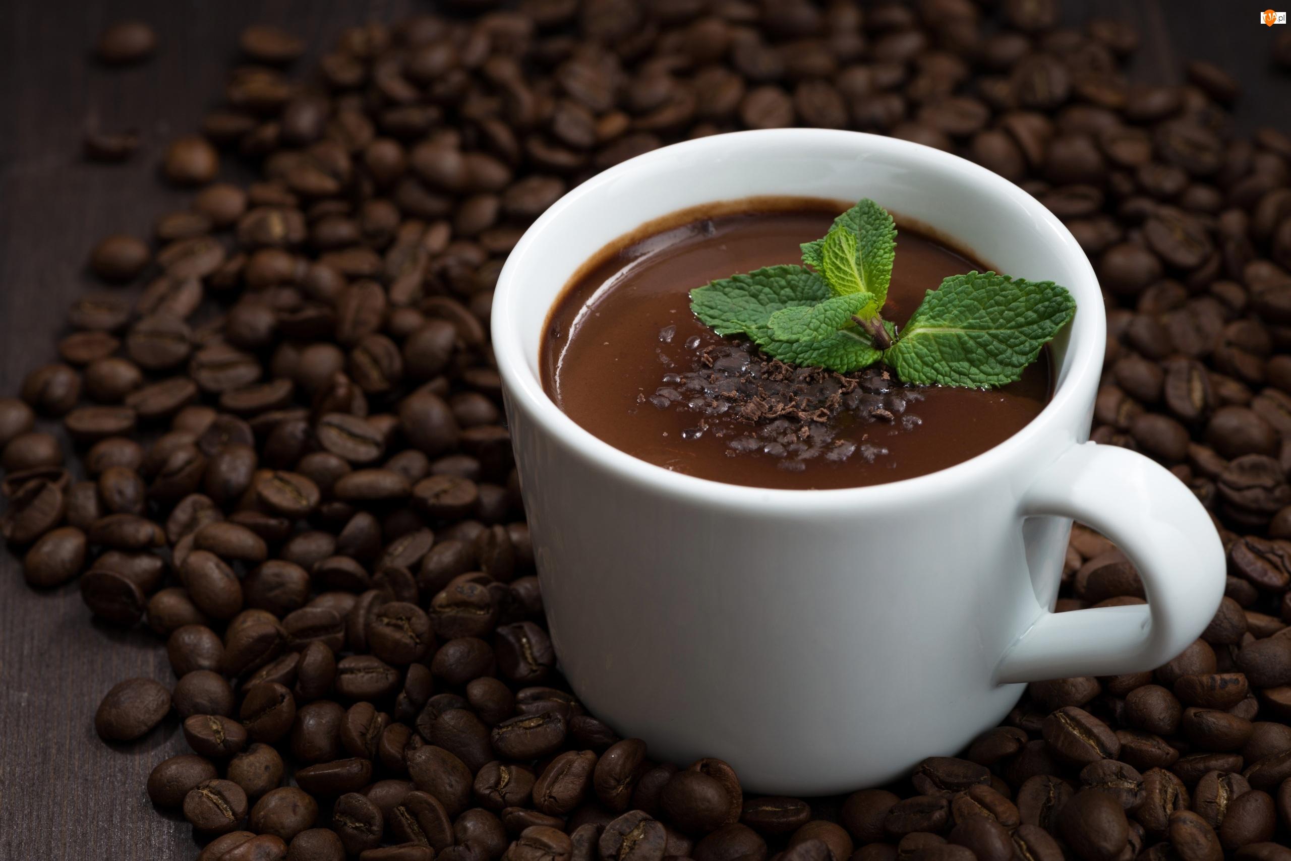 Kawa, Czekolada, Filiżanka, Ziarna