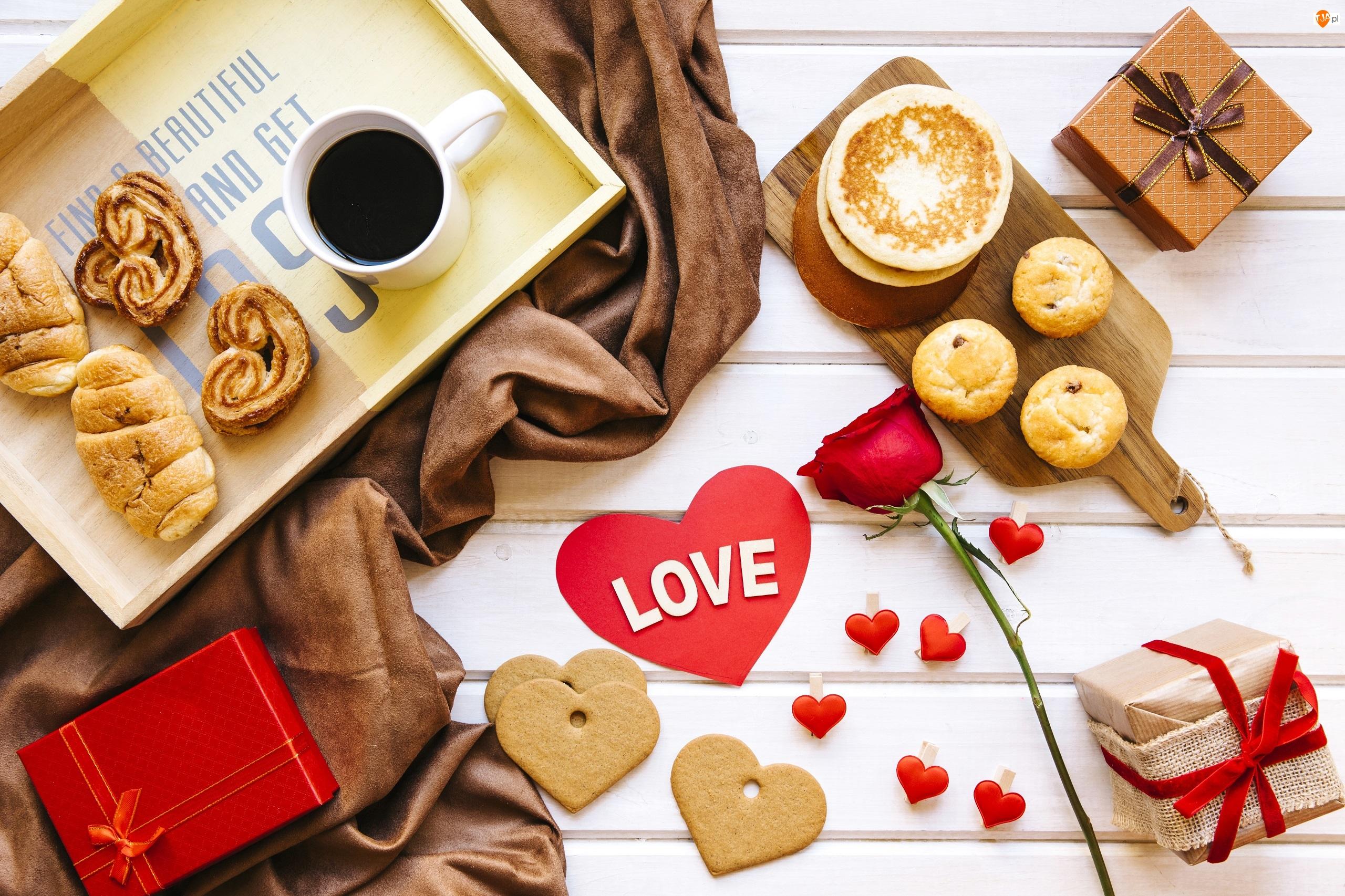 Serduszka, Róża, Prezenty, Walentynki, Tacka, Kawa, Ciasteczka