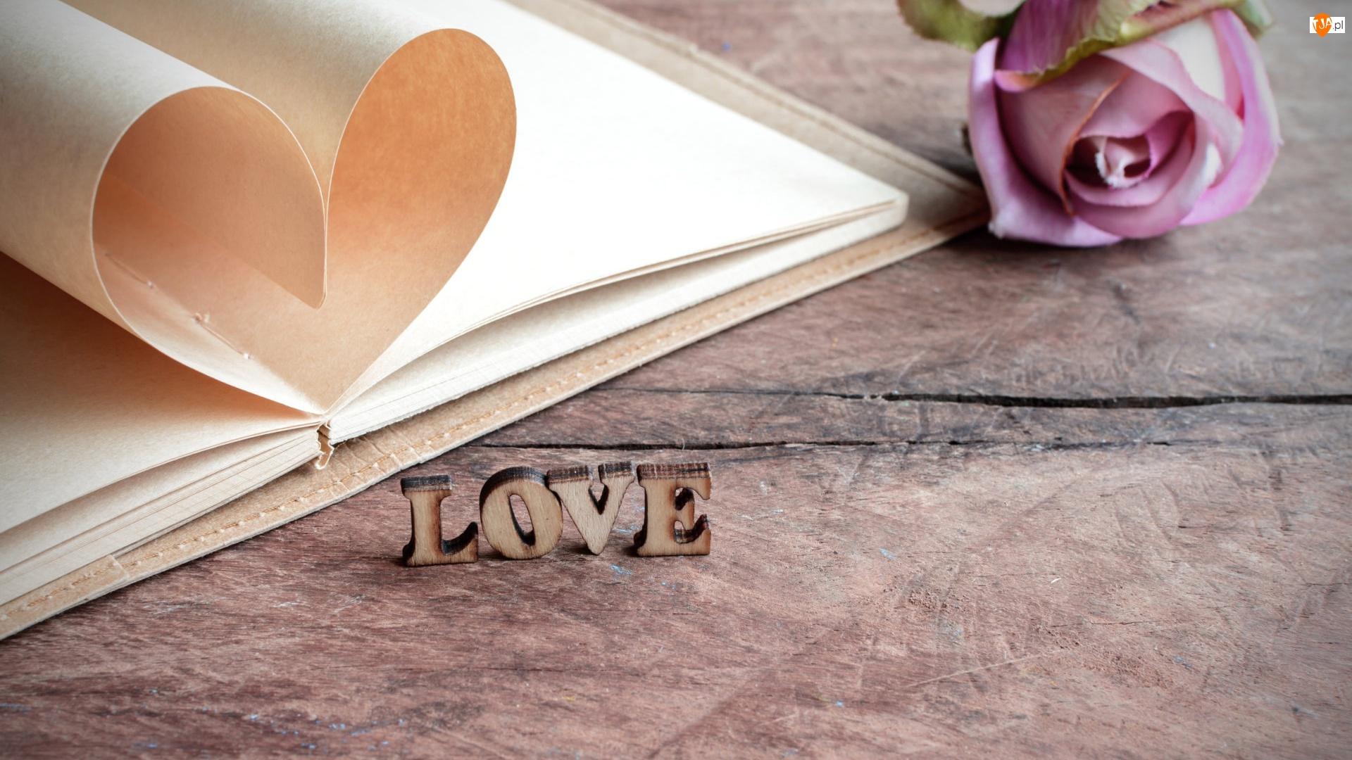 Drewniane, Love, Róża, Brulion, Kompozycja, Drewniany, Litery, Walentynki, Serce, Napis, Blat