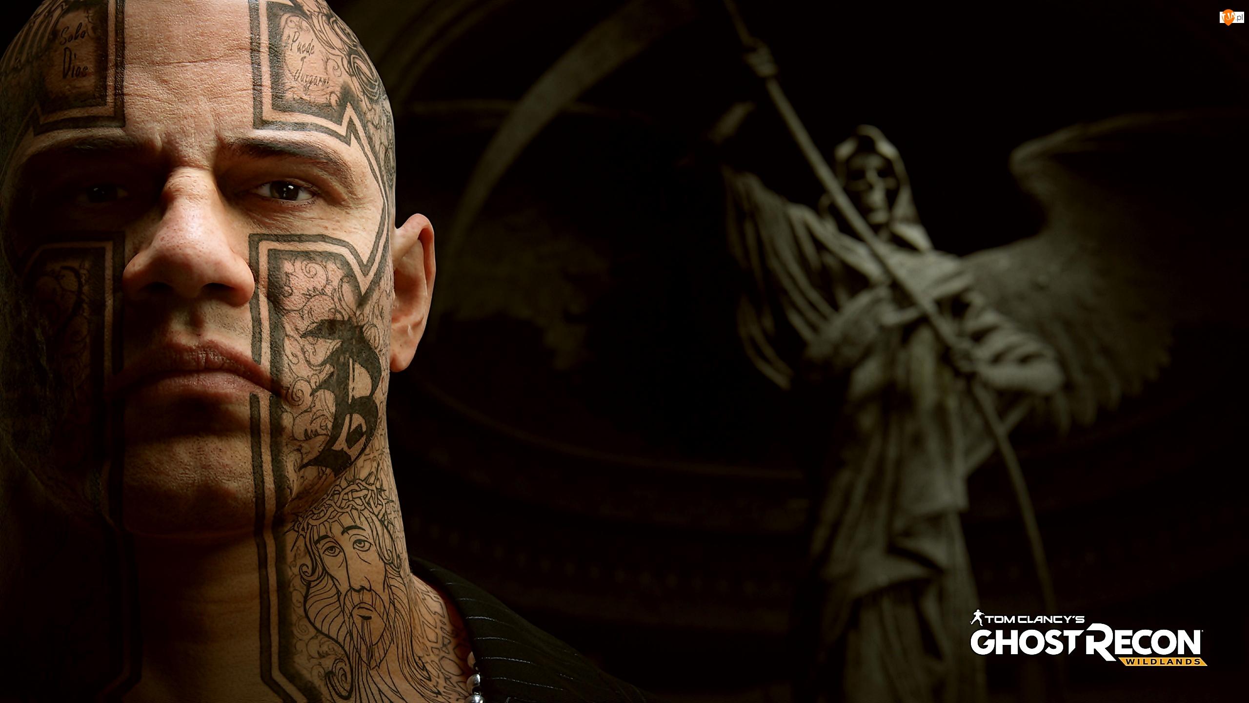 Tatuaże, Tom Clancys Ghost Recon Wildlands, El Sueno, Anioł, Postać, Mężczyzna, Kosa, Baron narkotykowy
