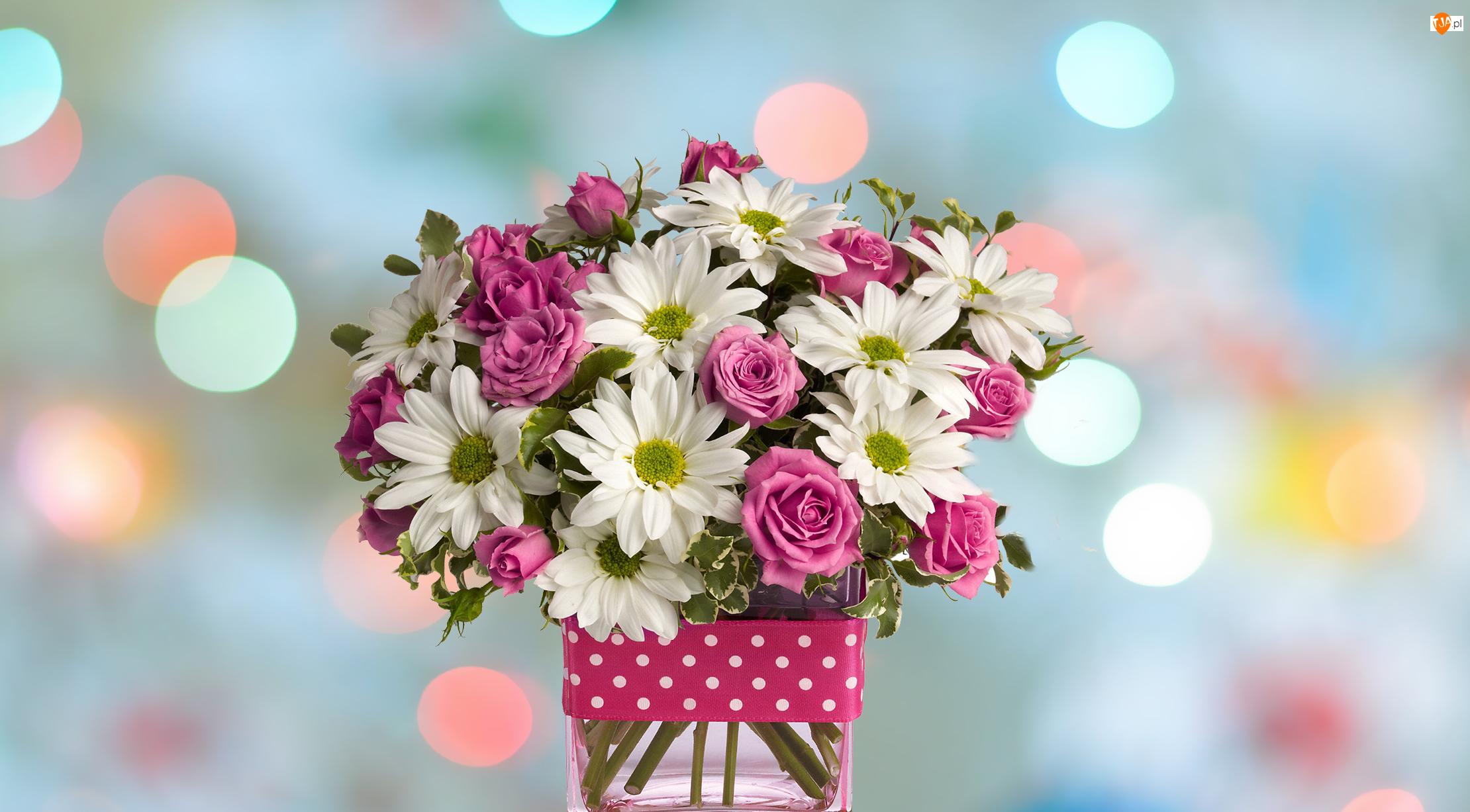 Kwiaty, Bukiet, Chryzantemy, Bokeh, Róże, Wazon
