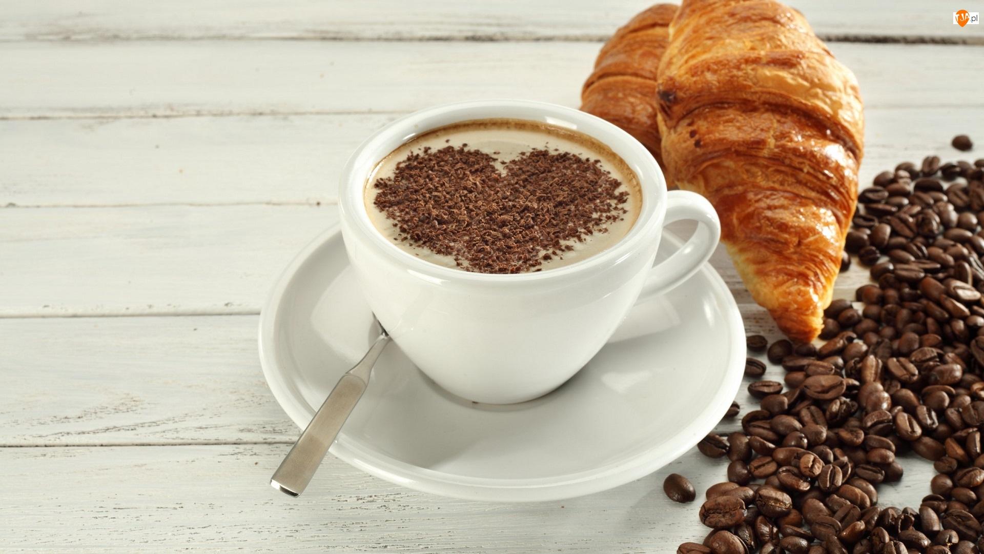 Kawa, Filiżanka, Ziarna, Croissanty, Serce, Rogaliki