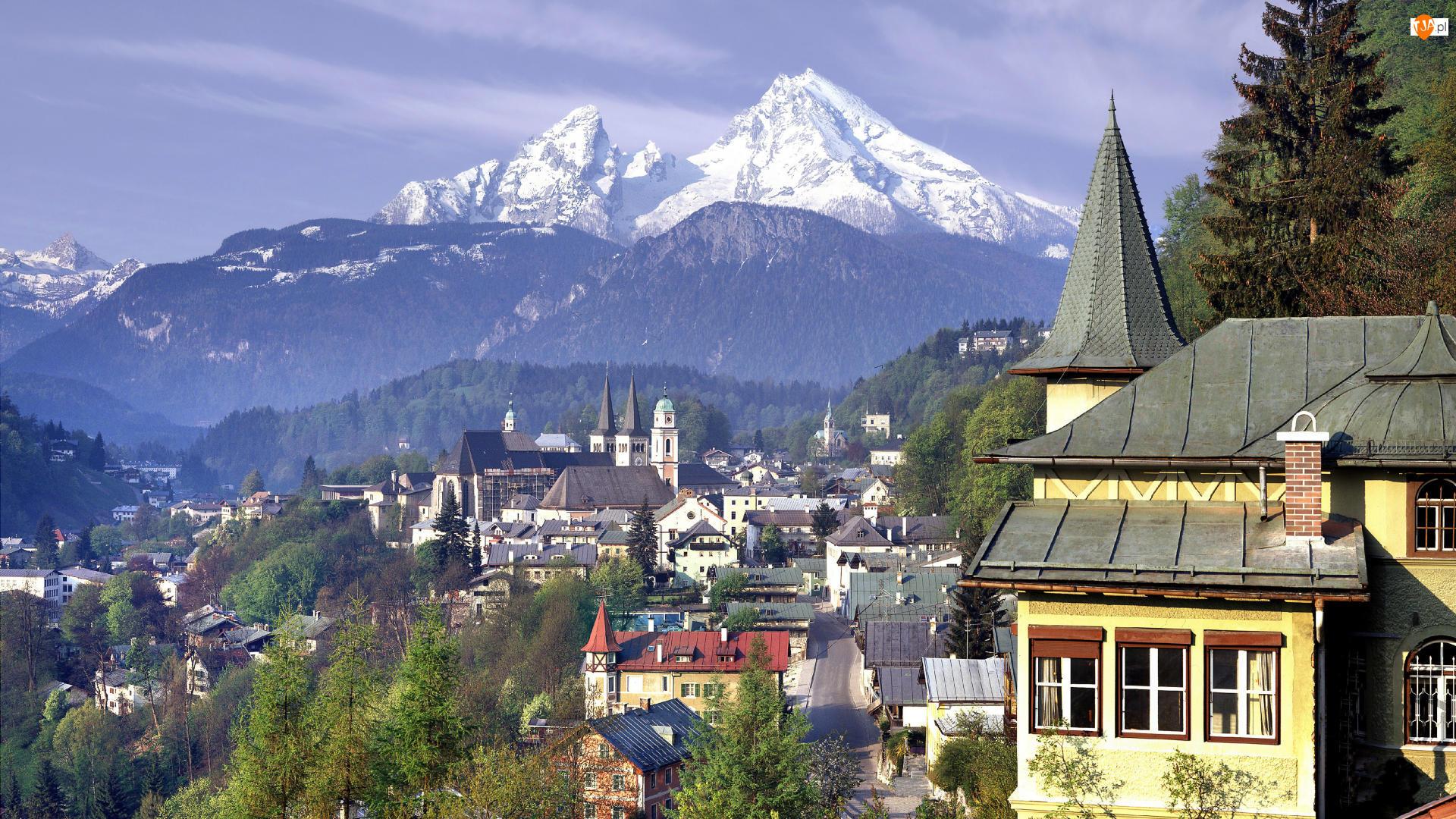 Niemcy, Domy, Bawaria, Gmina Berchtesgaden, Góry Alpy Salzburskie