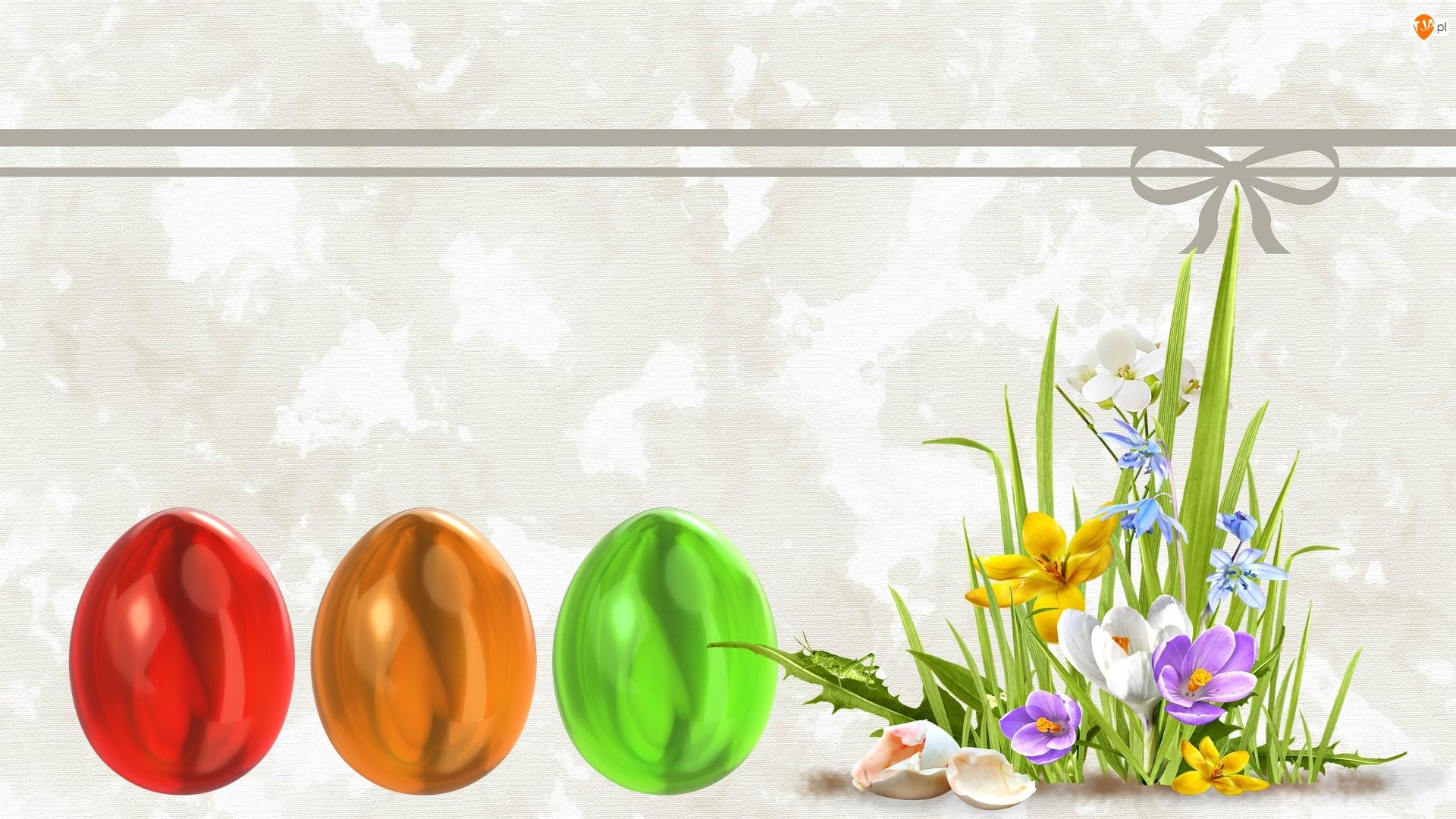 Kartka, Wielkanoc, Pisanki, Kwiaty