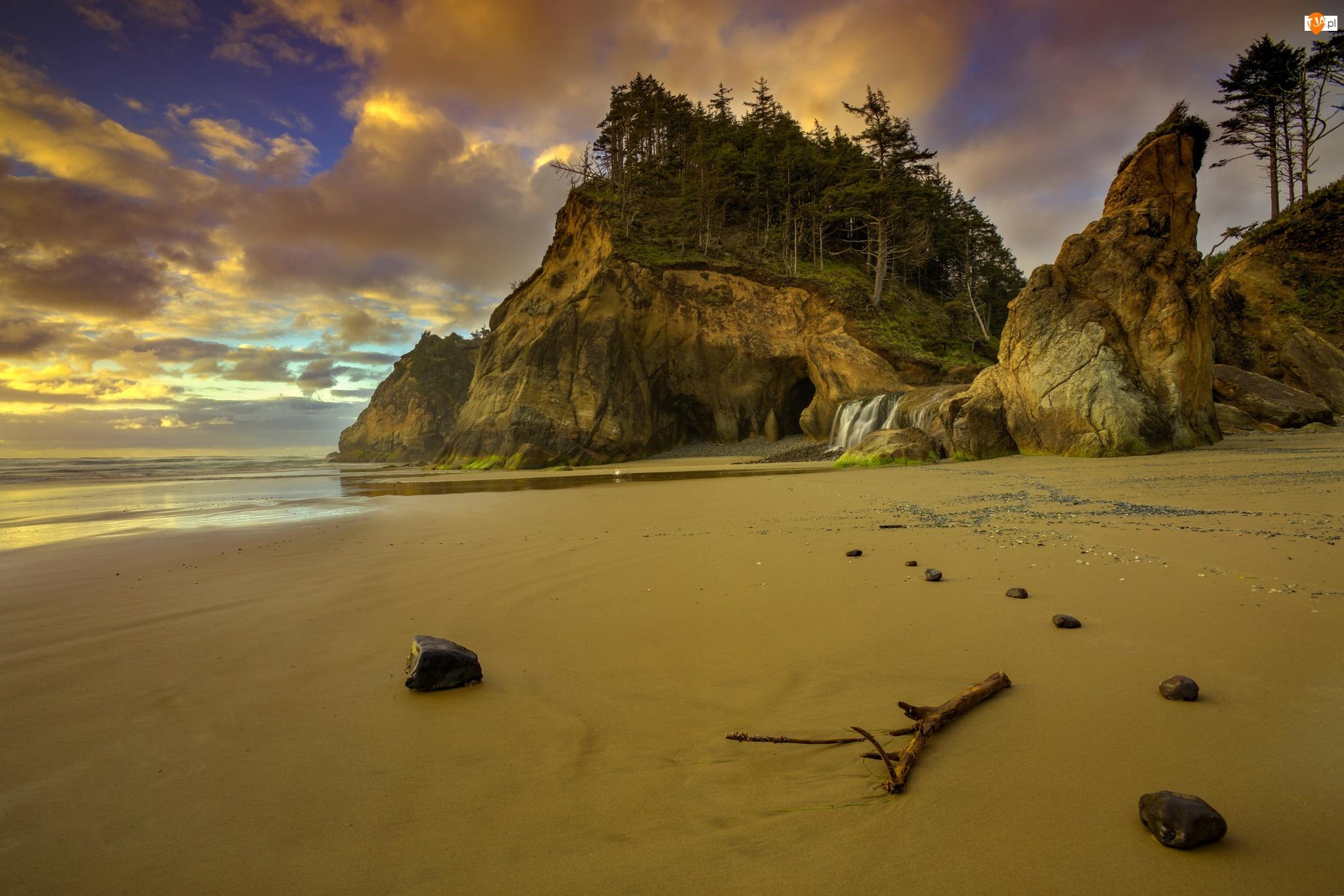 Stany Zjednoczone, Park stanowy Hug Point State Recreation Site, Przylądek Hug Point, Plaża, Wybrzeże, Stan Oregon, Skały, Morze