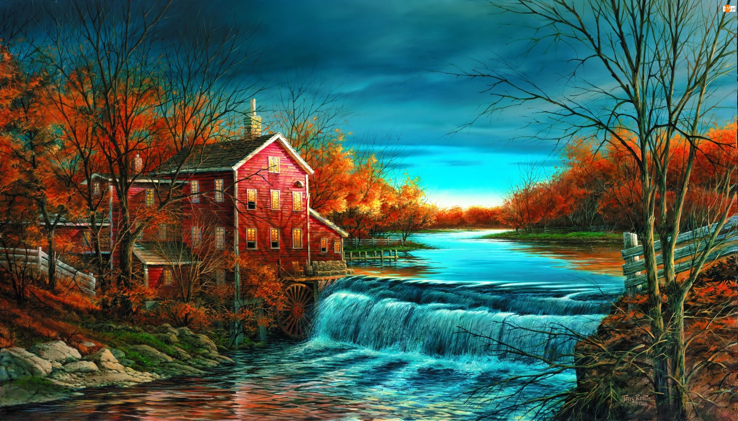 Rzeka, Młyn wodny, Jesień, Terry Redlin, Drzewa, Malarstwo