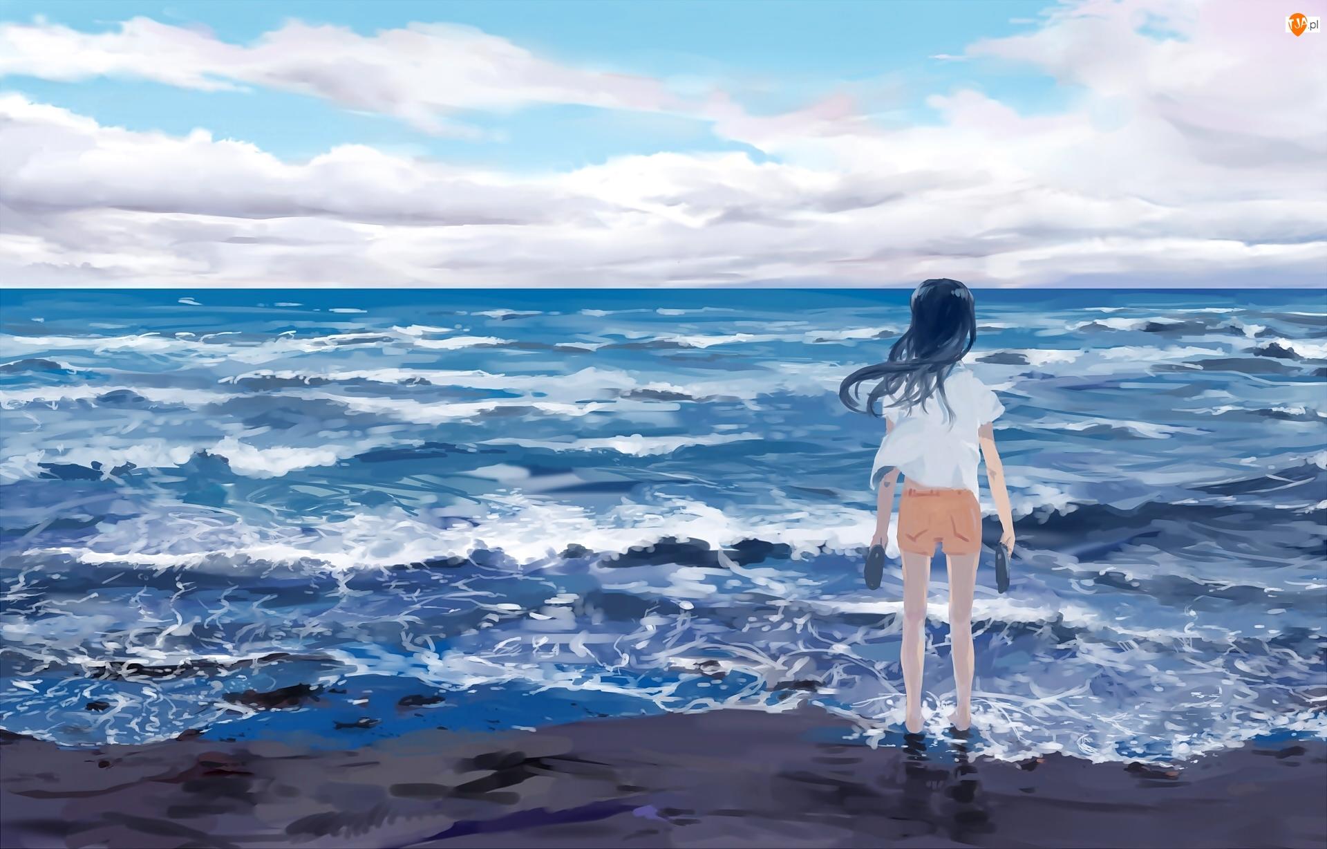 Dziewczyna, Manga, Morze, Brzeg