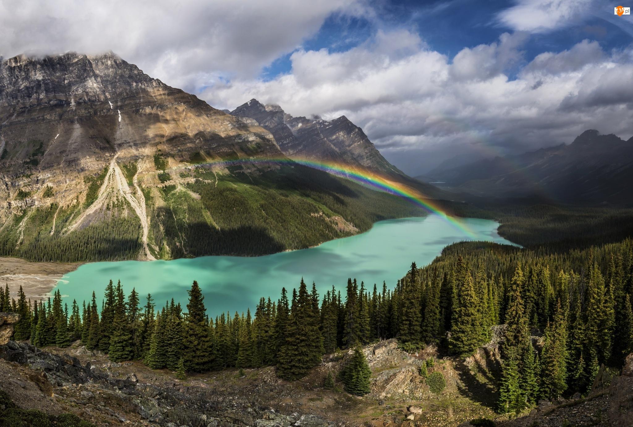 Jezioro Peyto Lake, Góry, Prowincja Alberta, Tęcza, Park Narodowy Banff, Kanada