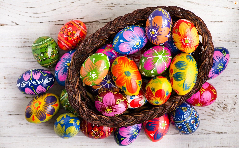 Kolorowe, Wielkanoc, Koszyk, Pisanki