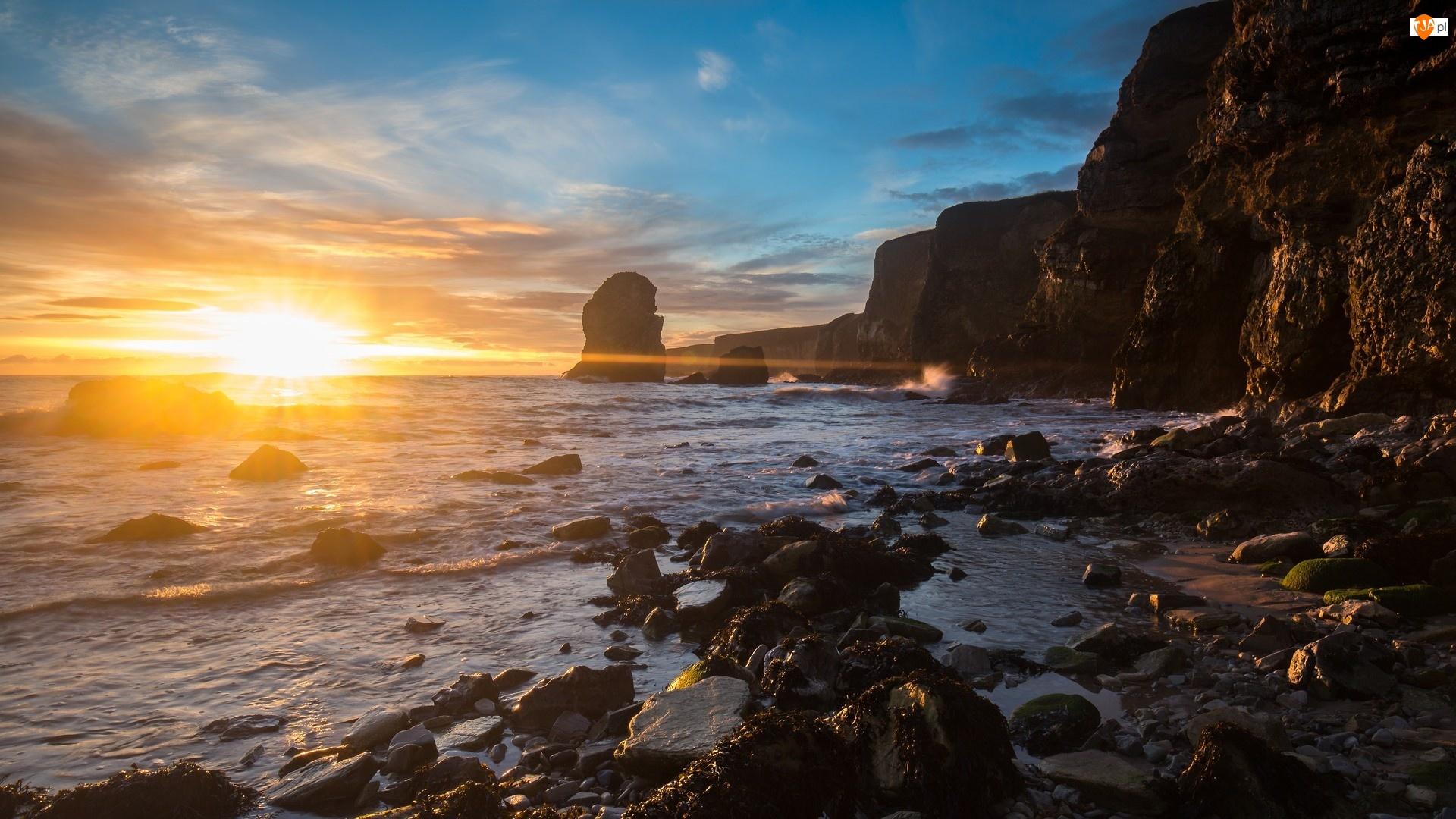 Klif, Zachód słońca, Skały, Morze, Kamienie