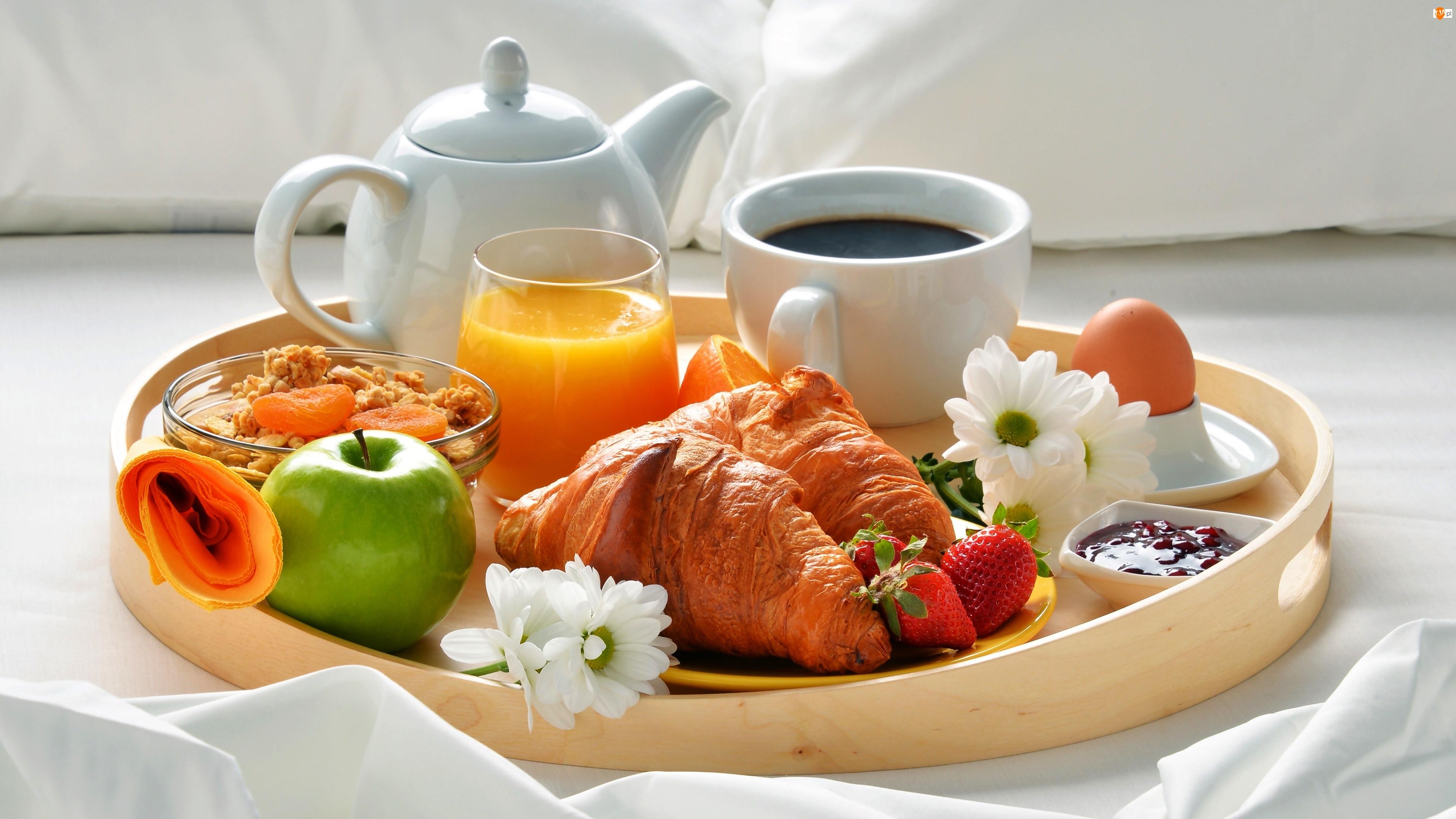 Kawa, Rogale, Taca, Śniadanie, Kwiaty, Jabłko, Sok pomarańczowy