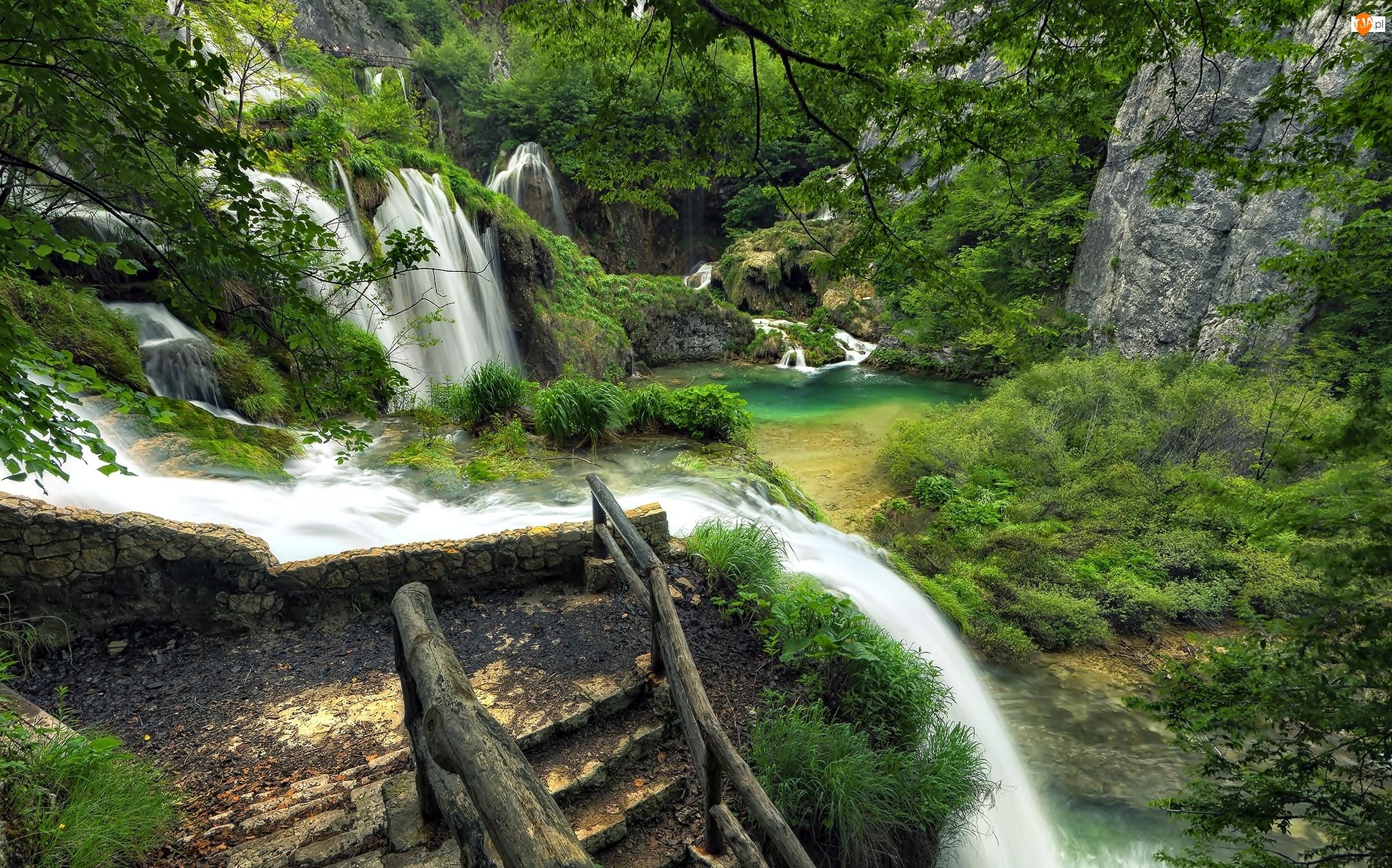 Park Narodowy, Chorwacja, Skały, Wodospad, Plitvice