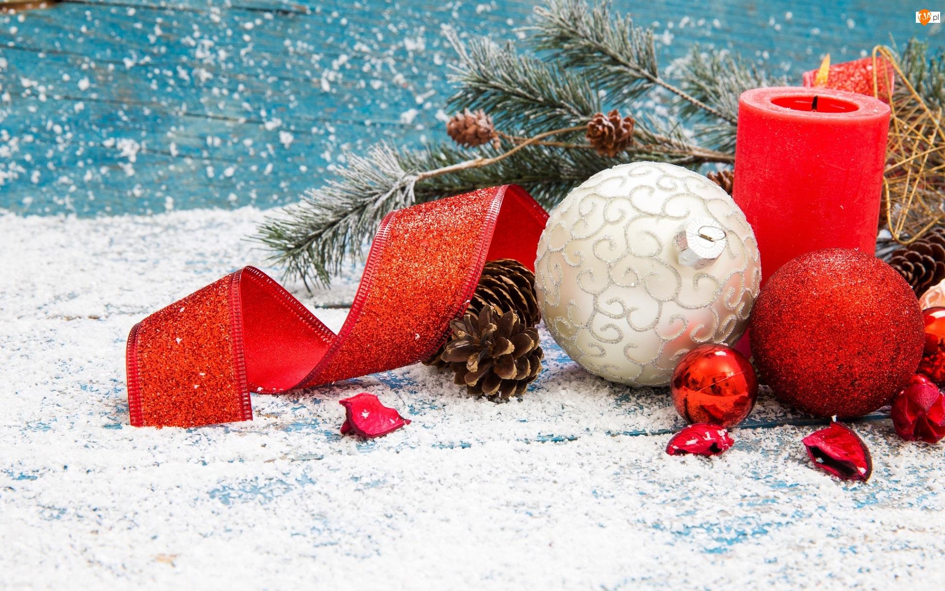 Stroik, Boże Narodzenie, Świeczka, Kompozycja, Wstążka, Bombki, Gałązki