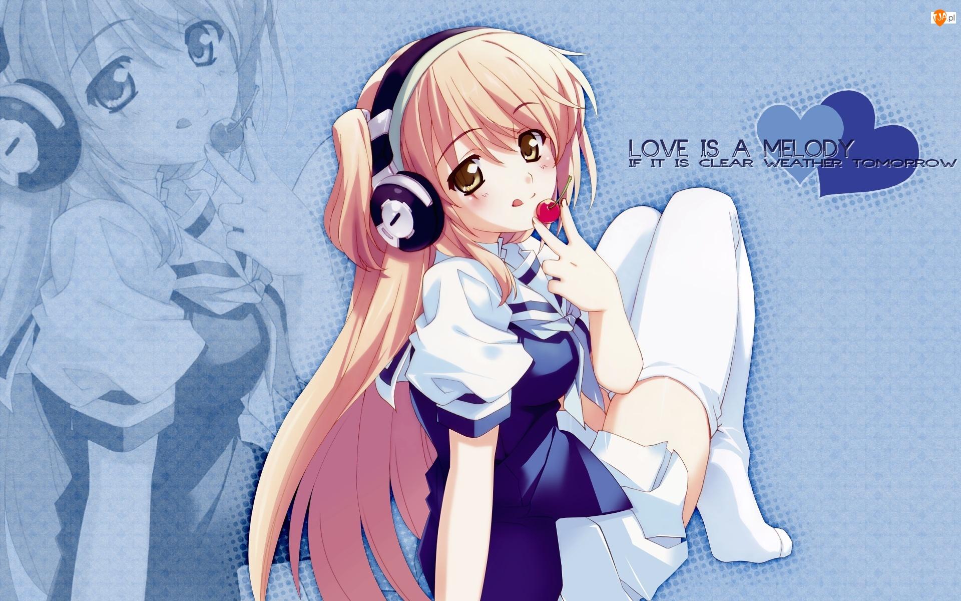 Słuchawki, Serca, Grafika 2D, Dziewczyna, Anime, Manga, Napisy
