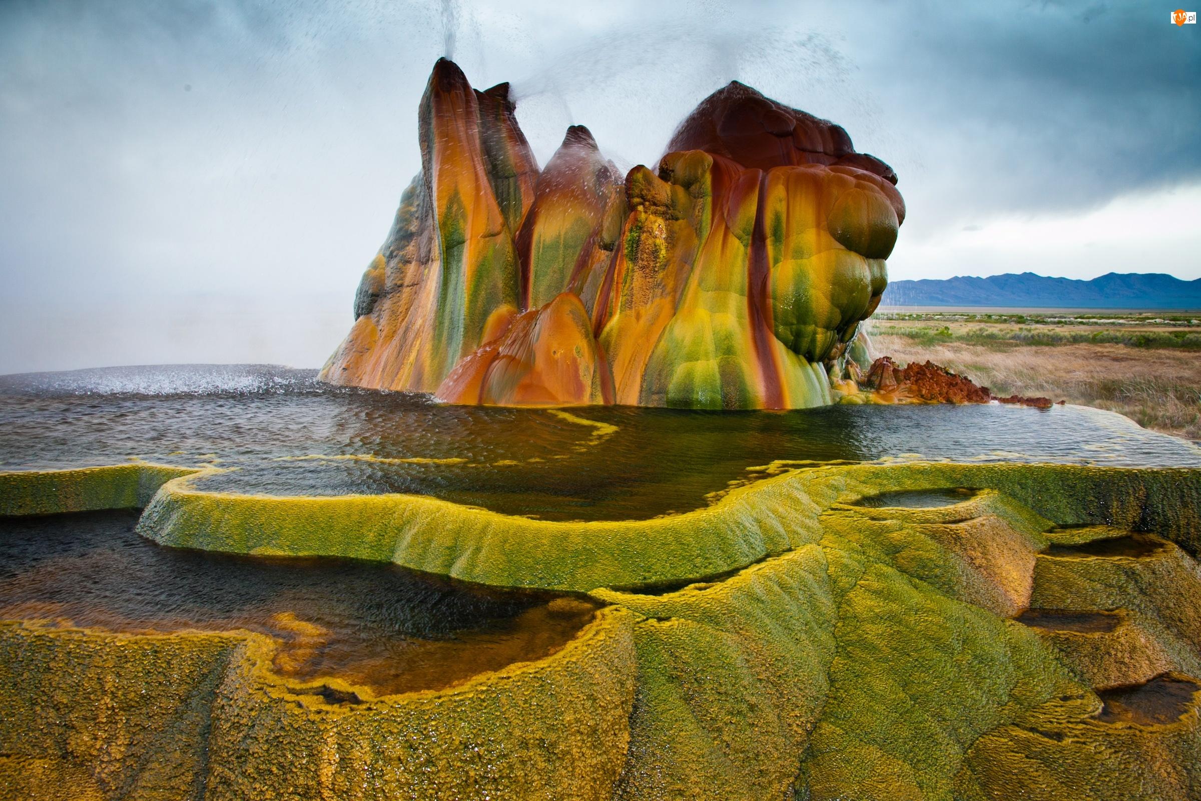 Hualapai Valley, Skała, Stan Nevada, Stany Zjednoczone, Gejzer Fly